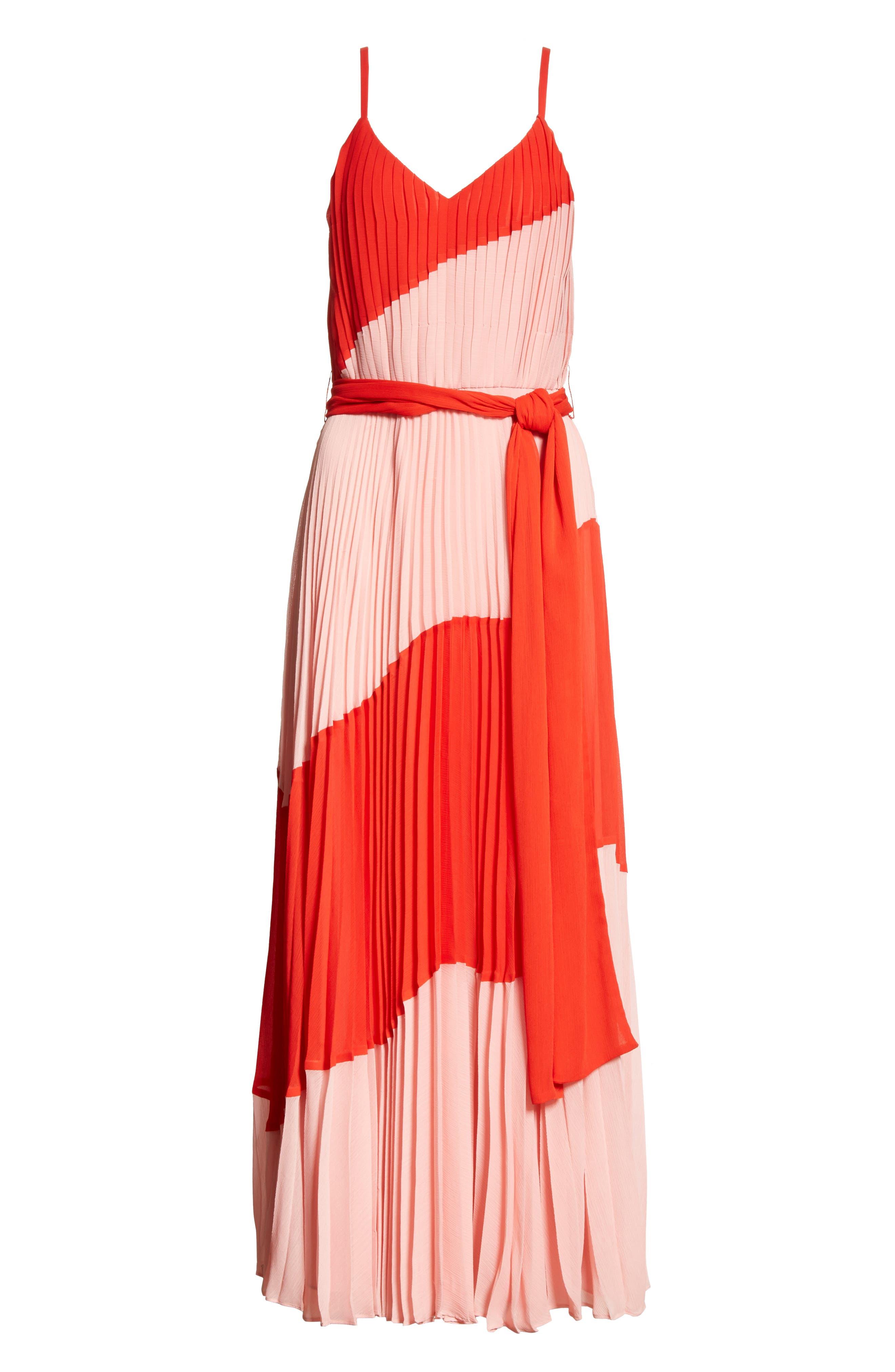 Rozlyn Pleat Colorblock Maxi Dress,                             Alternate thumbnail 6, color,                             Perfect Poppy/ Blossom