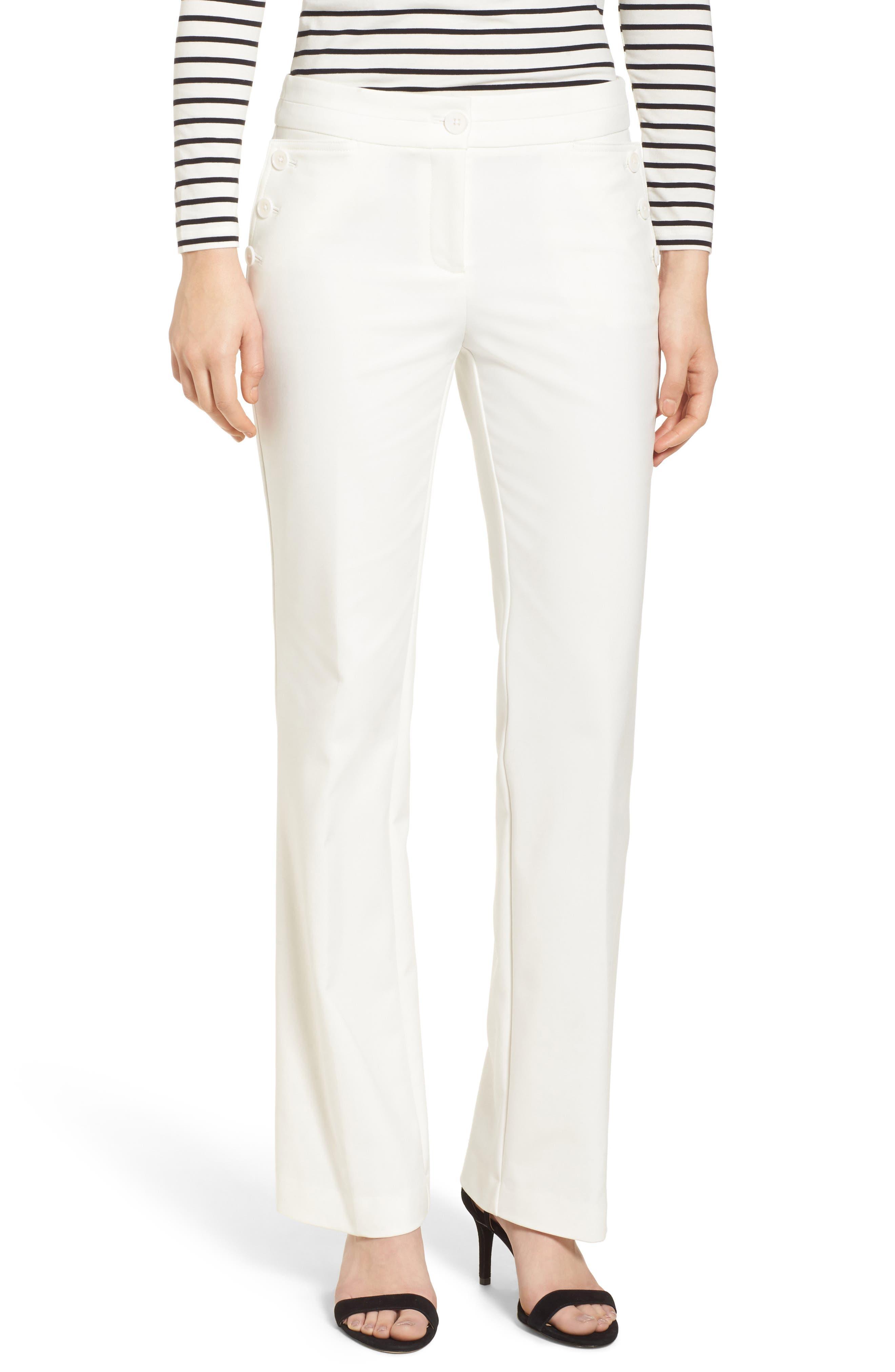 Flare Leg Sailor Pants,                         Main,                         color, White