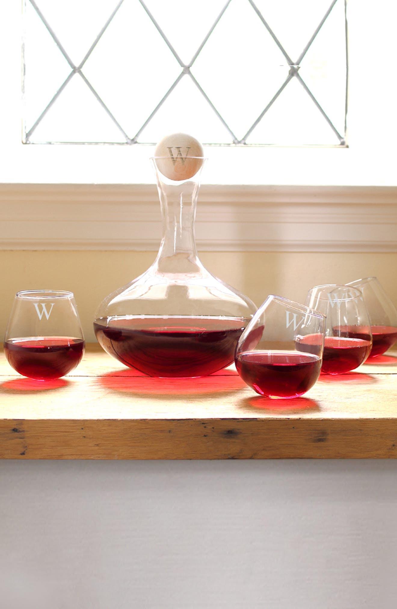 'Tipsy' Monogram Wine Decanter & Stemless Glasses,                             Alternate thumbnail 2, color,