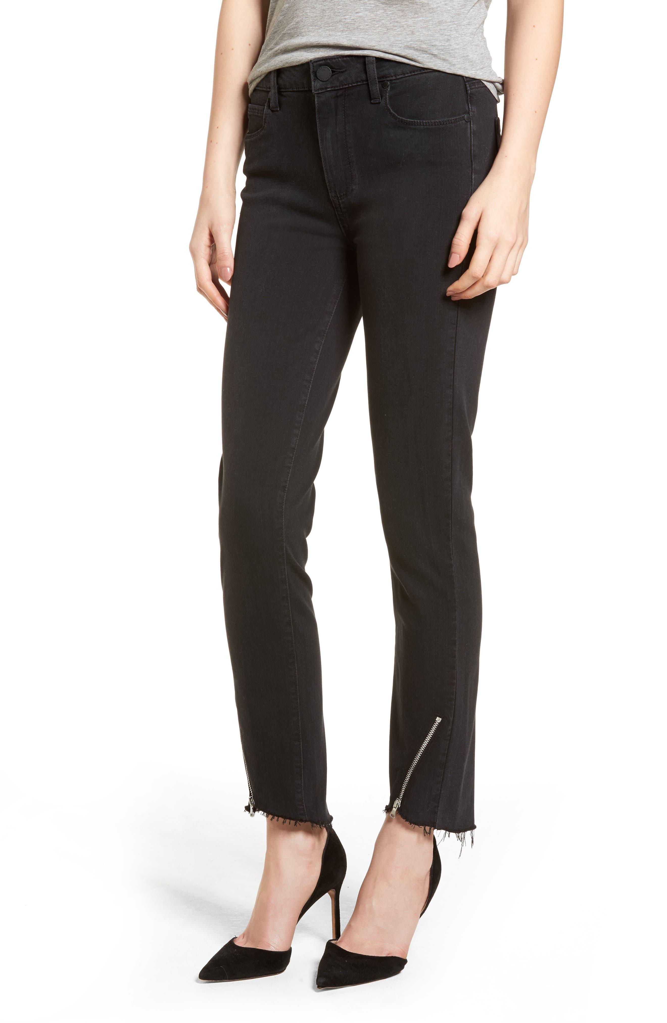 Transcend - Hoxton High Waist Ultra Skinny Jeans,                         Main,                         color, Black Fog