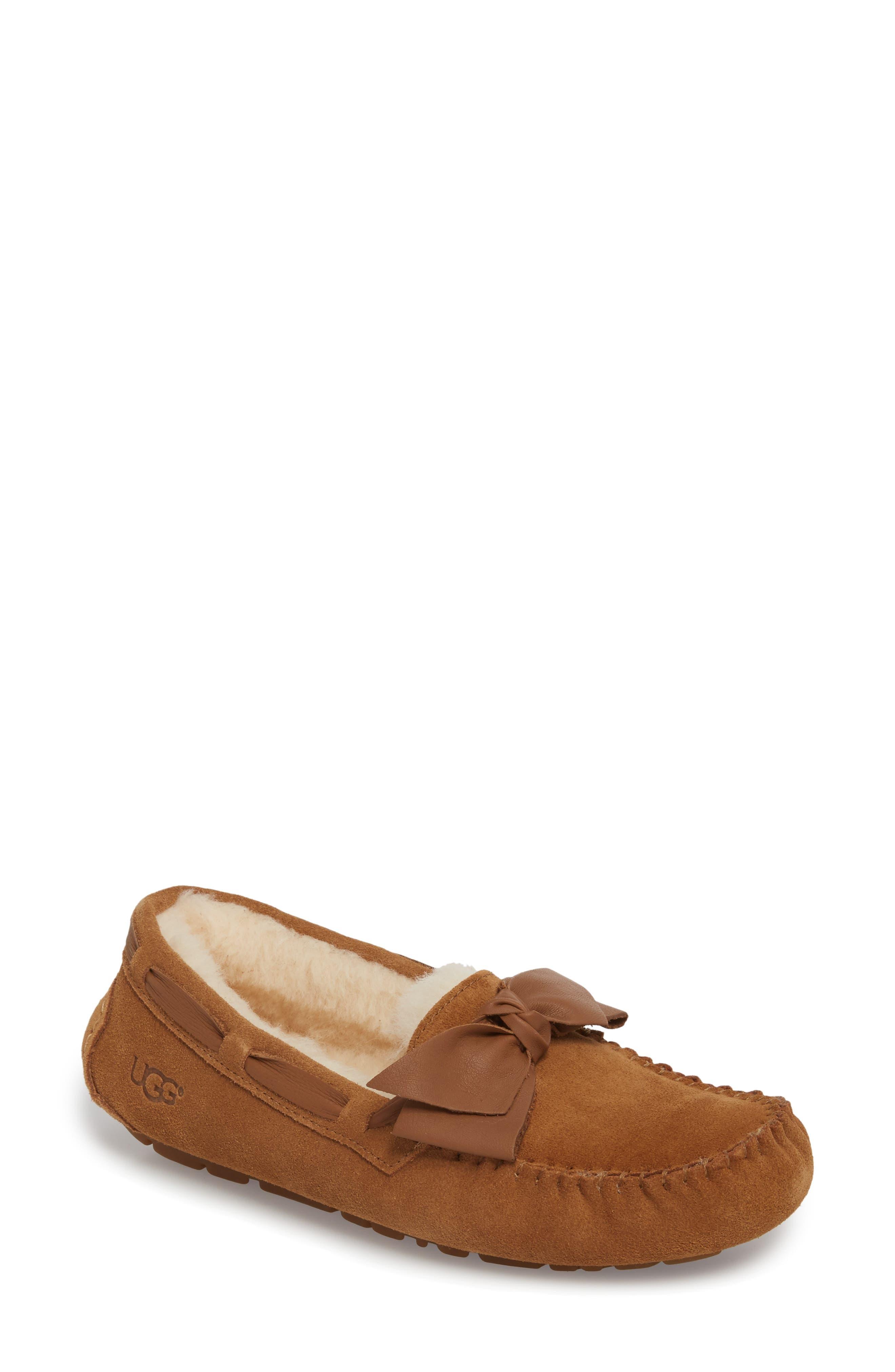 Dakota Bow Slipper, Main, color, Chestnut Suede