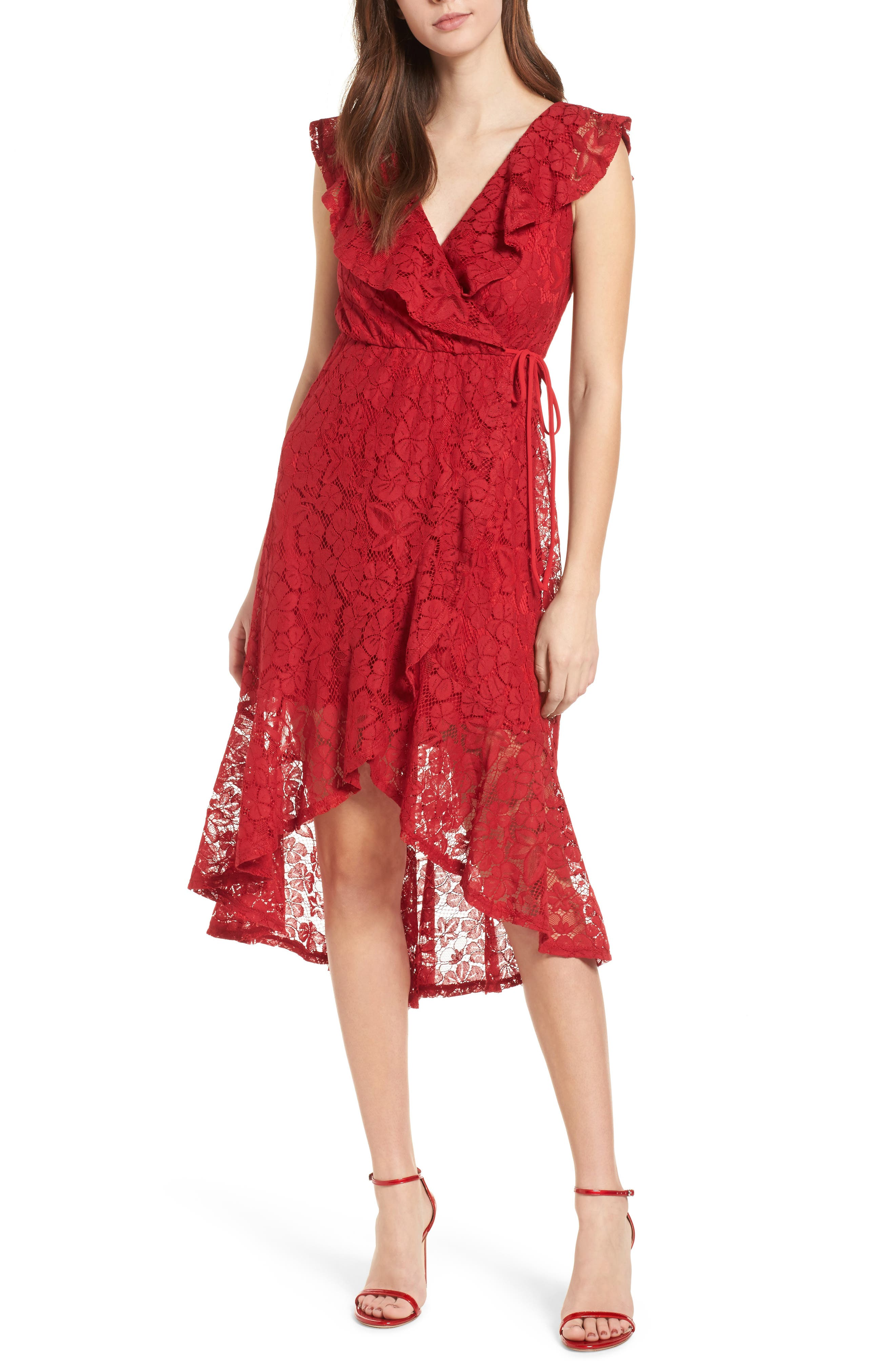 Ruffle Lace Wrap Dress,                             Main thumbnail 1, color,                             Red