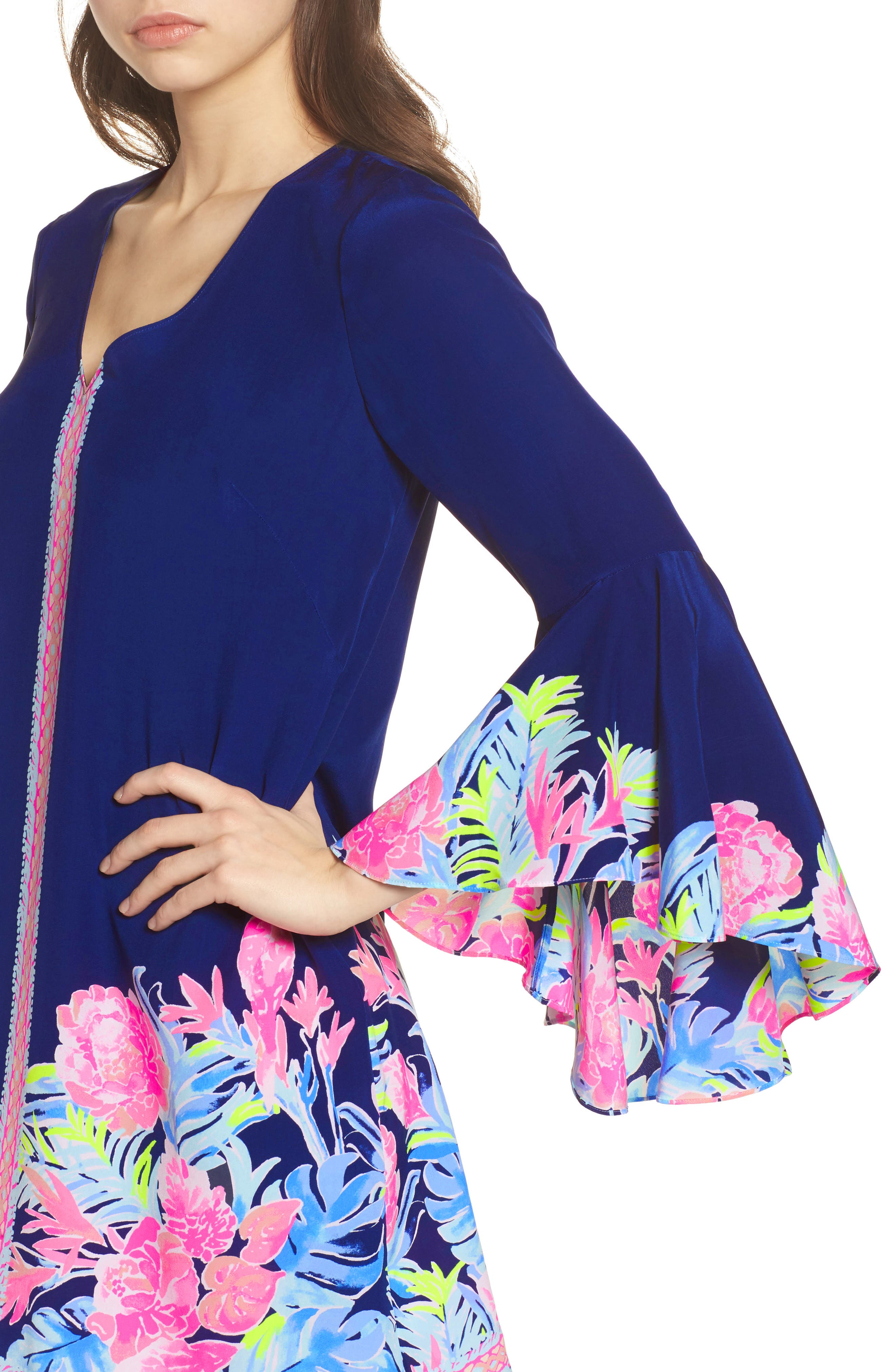 Rosalia Bell Sleeve Silk A-Line Dress,                             Alternate thumbnail 4, color,                             High Tide Tropicolada