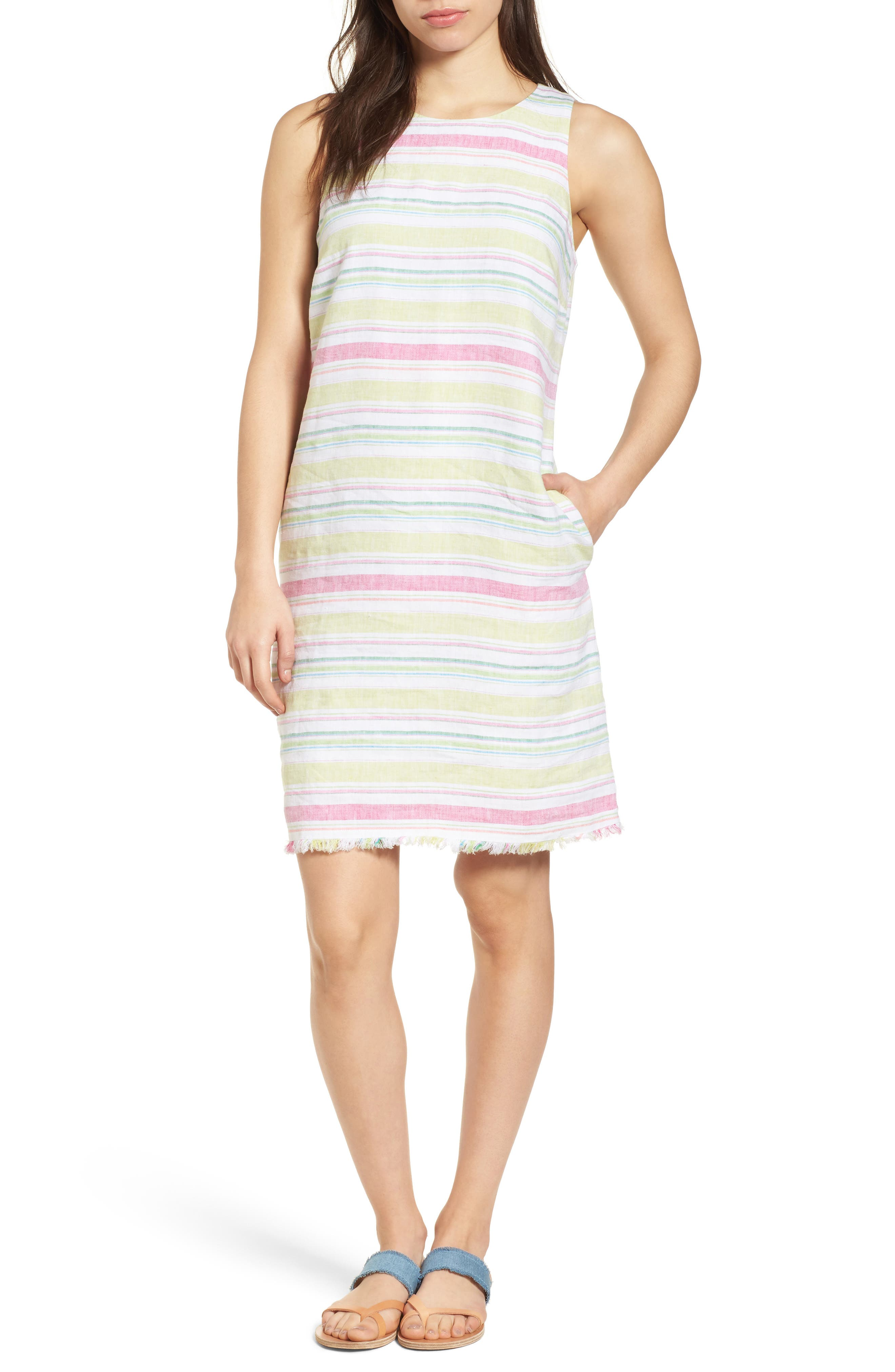 Tulum Stripe Shift Dress,                             Main thumbnail 1, color,                             Energy Yellow