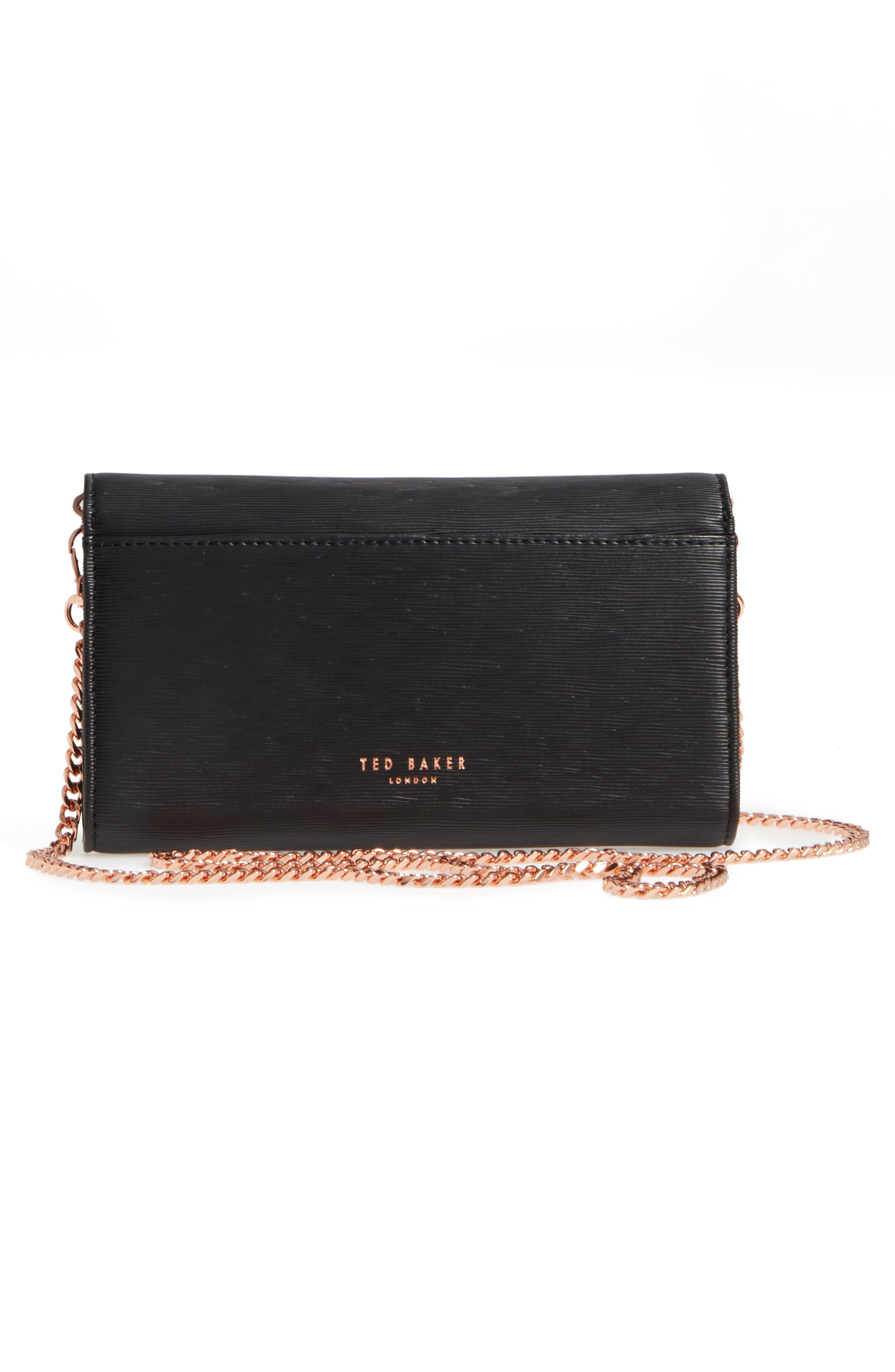 Melisia Bow Matinée Wallet on a Chain,                             Alternate thumbnail 3, color,                             Black