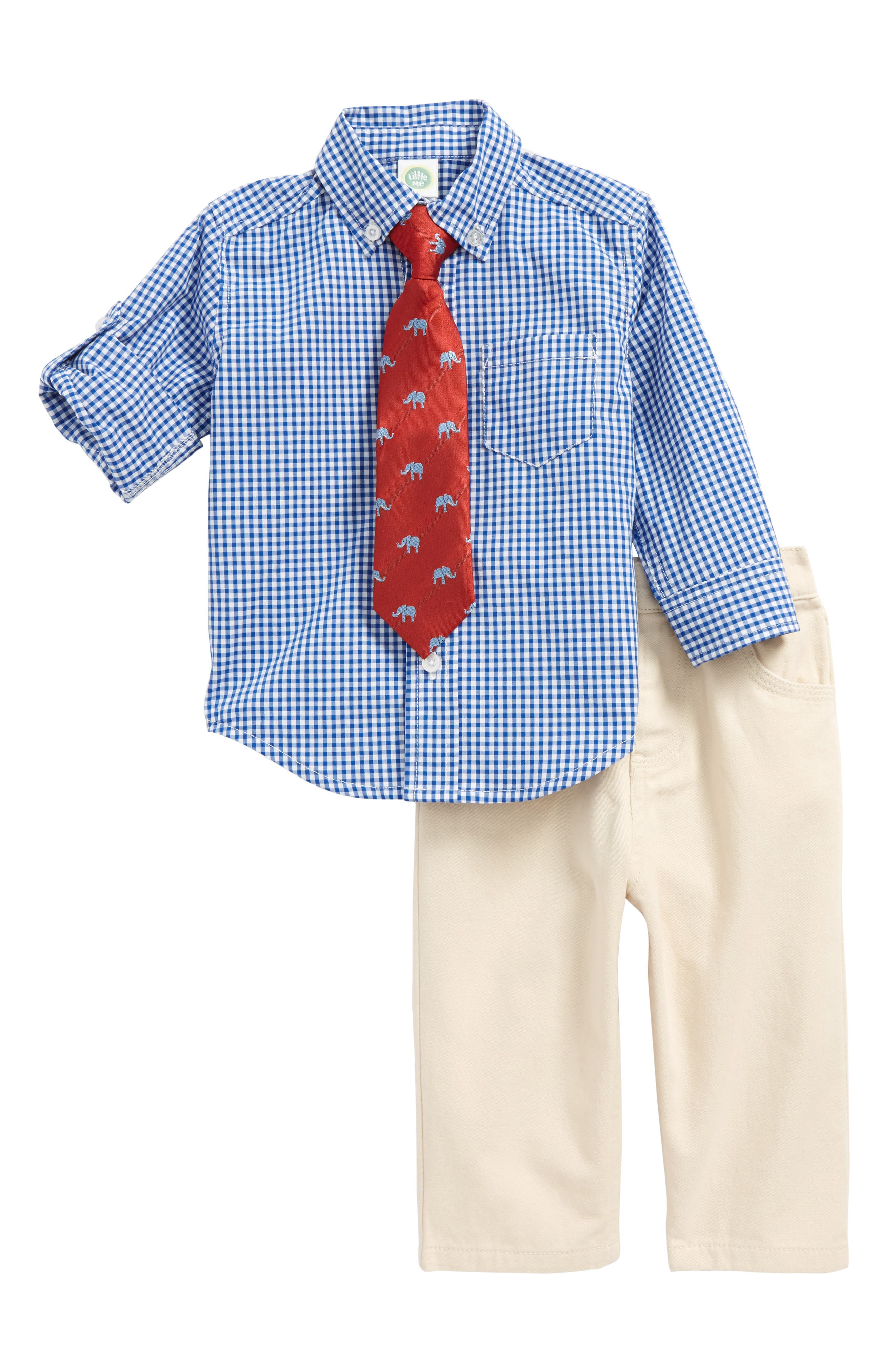 Little Me Check Shirt, Pants & Tie Set (Baby Boys)