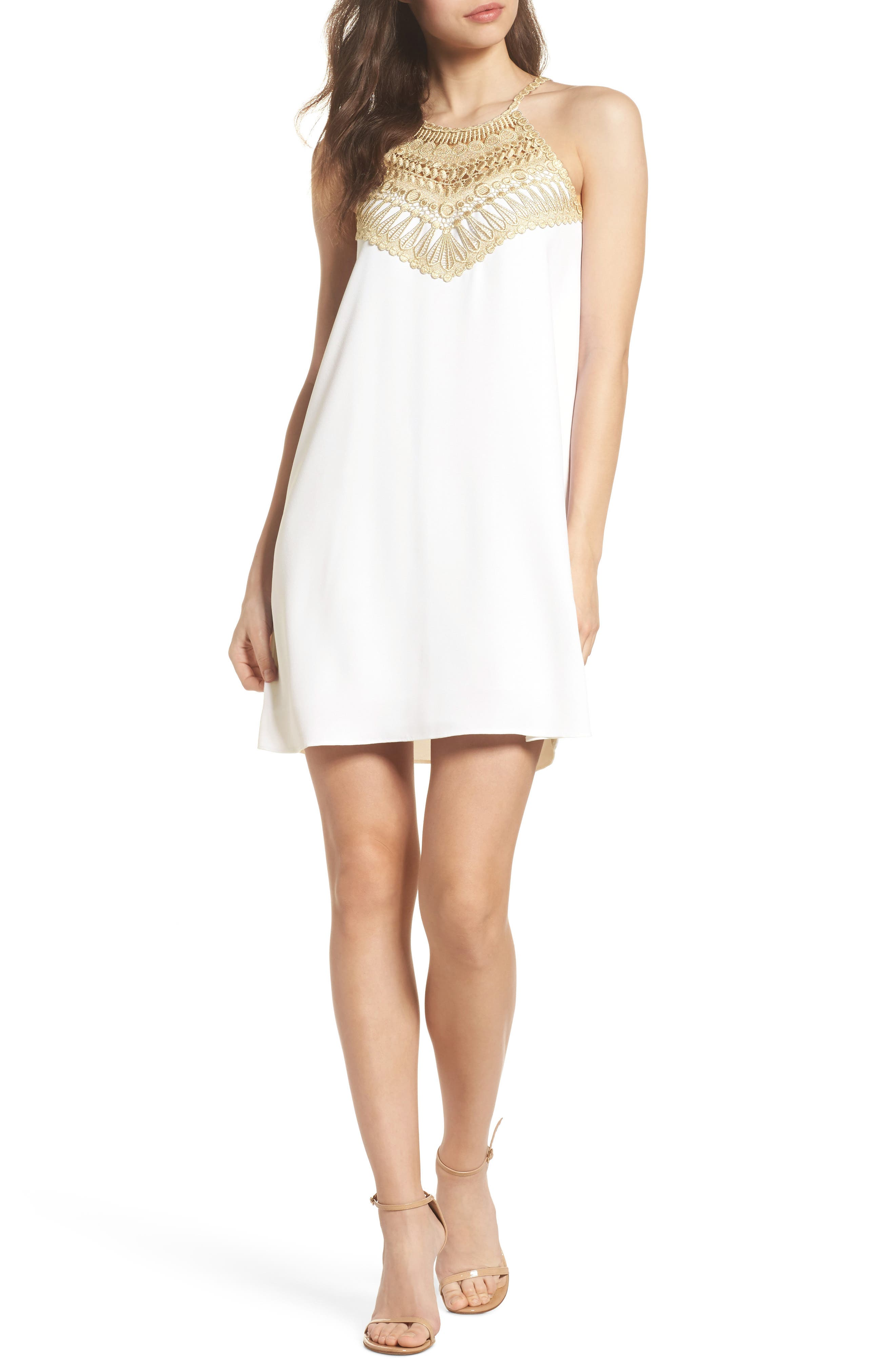 Pearl Shift Dress,                         Main,                         color, Resort White