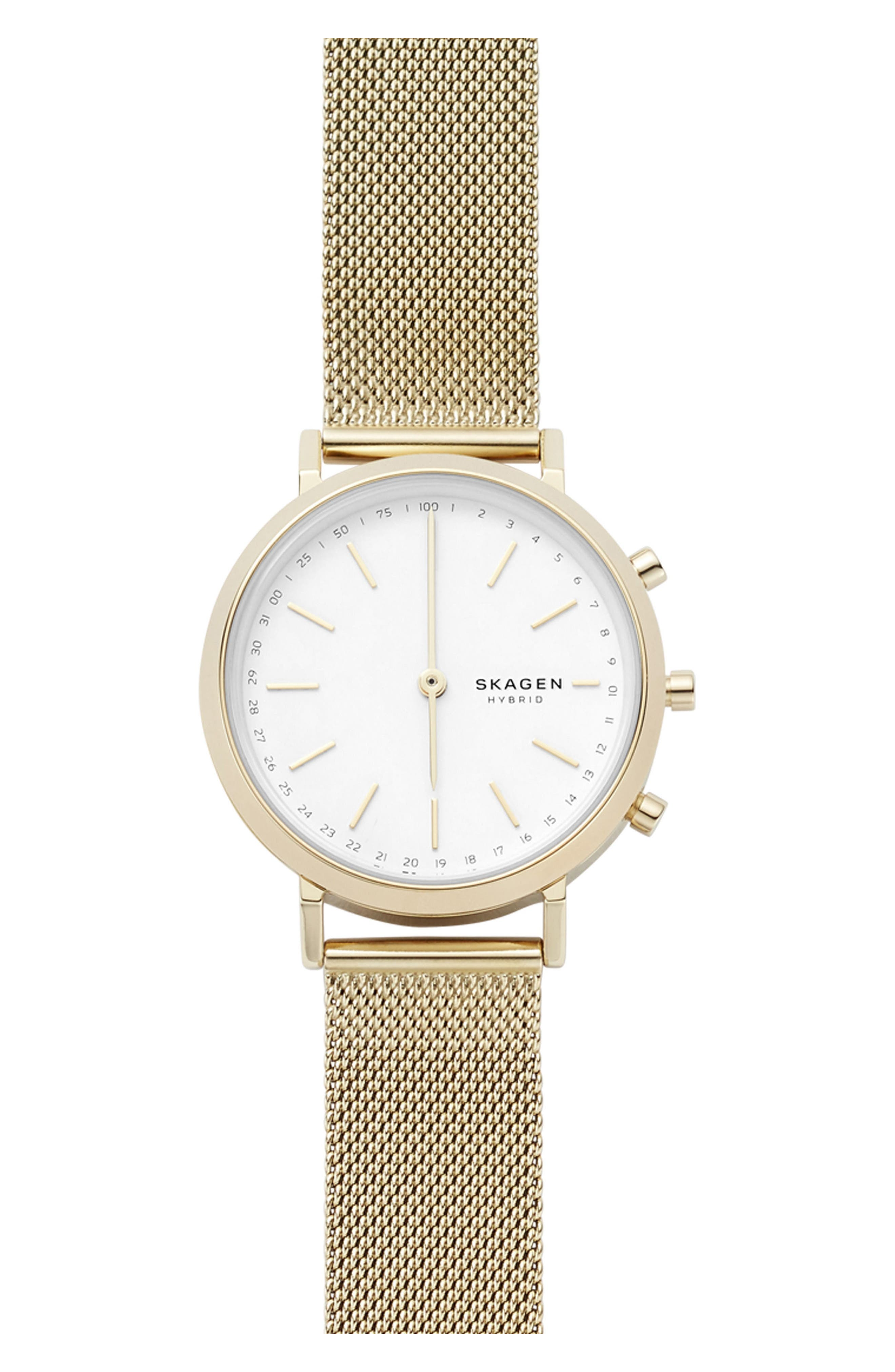 Hald Mesh Strap Hybrid Smart Watch, 34mm,                         Main,                         color, Gold/ White/ Gold