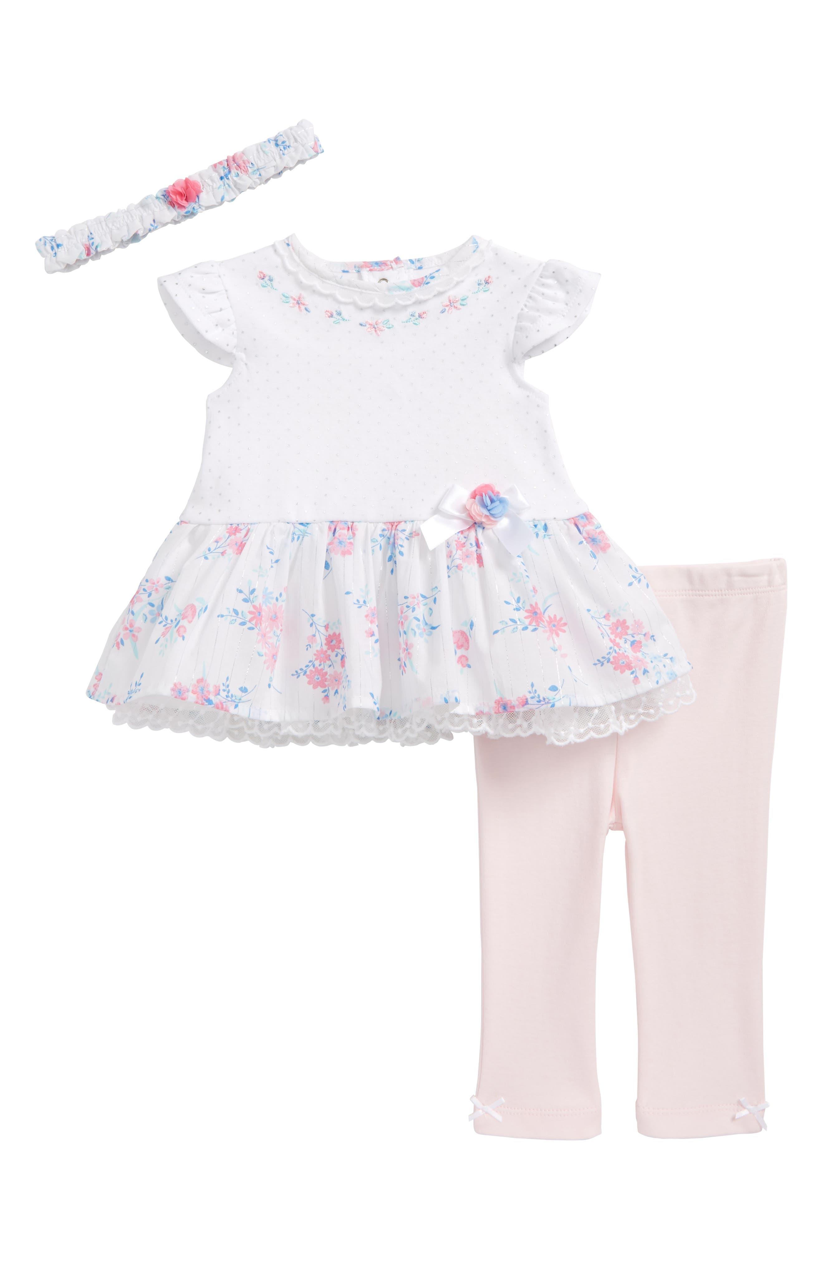 Alternate Image 1 Selected - Little Me Garden Swing Dress, Leggings & Headband Set (Baby Girls)