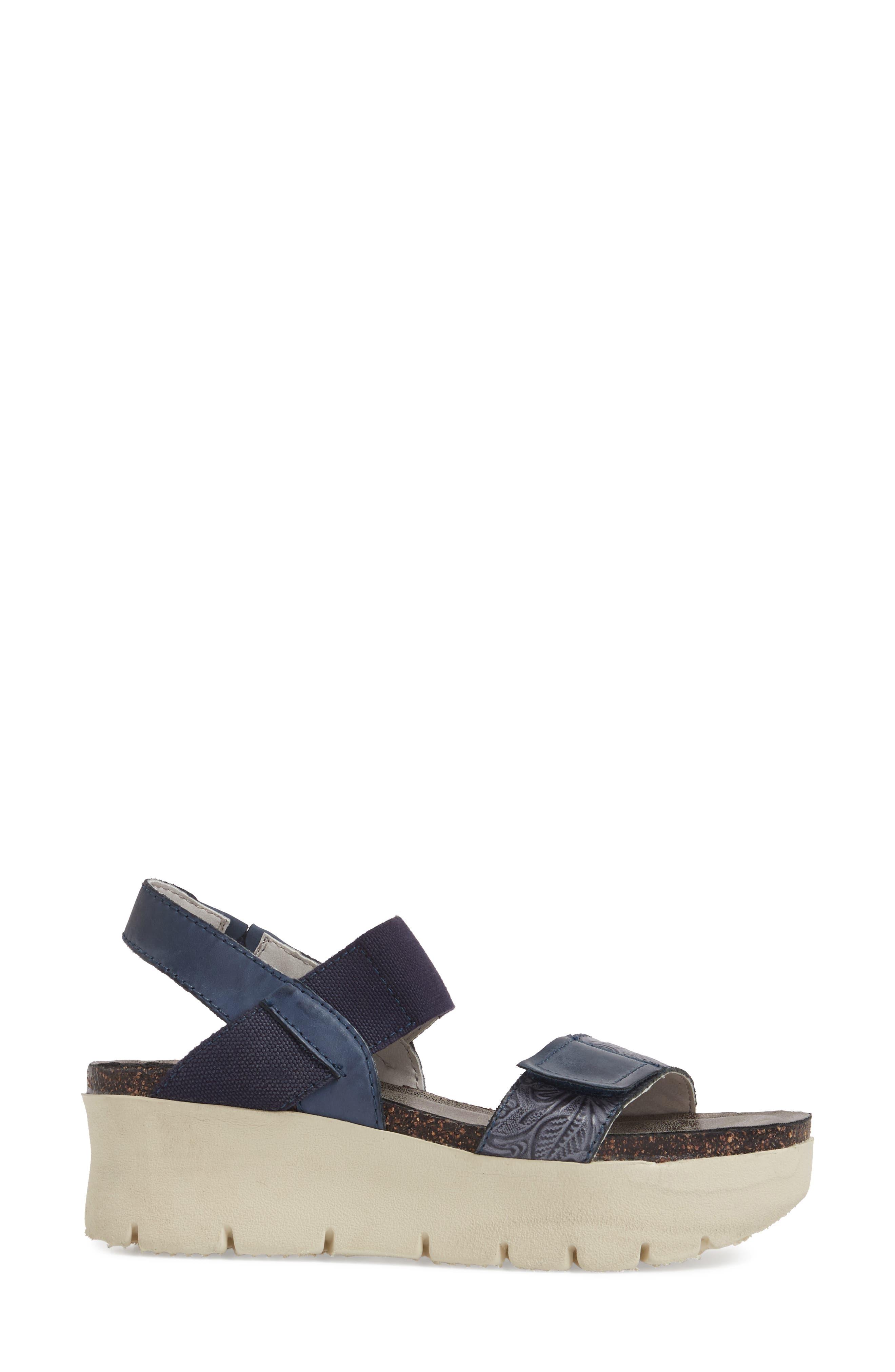 Nova Platform Sandal,                             Alternate thumbnail 3, color,                             Navy Leather