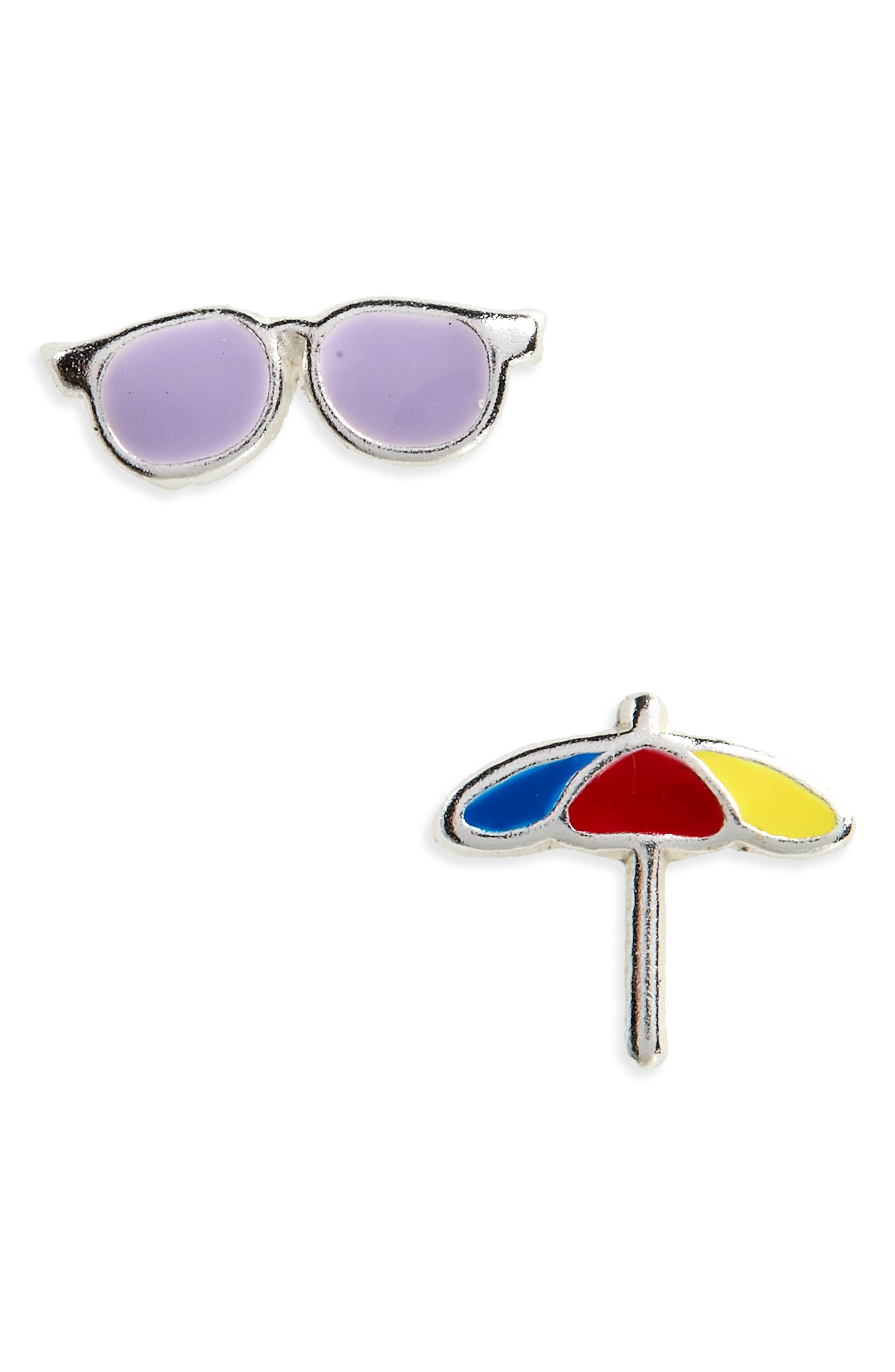 Sunglasses & Beach Umbrella Sterling Silver Stud Earrings,                             Main thumbnail 1, color,                             Yellow/ Red/ Green