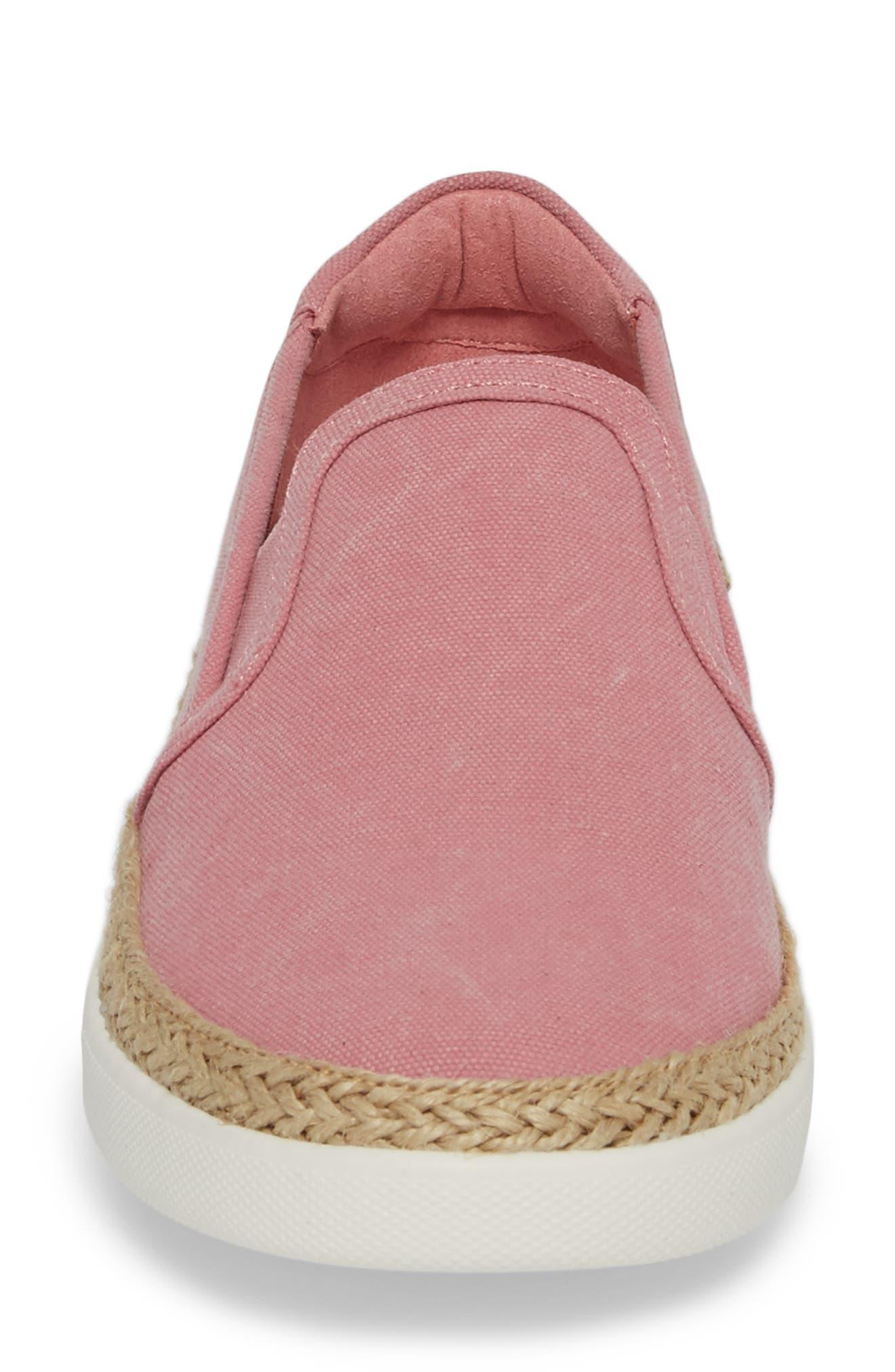 Rae Slip-On Sneaker,                             Alternate thumbnail 4, color,                             Light Pink Canvas