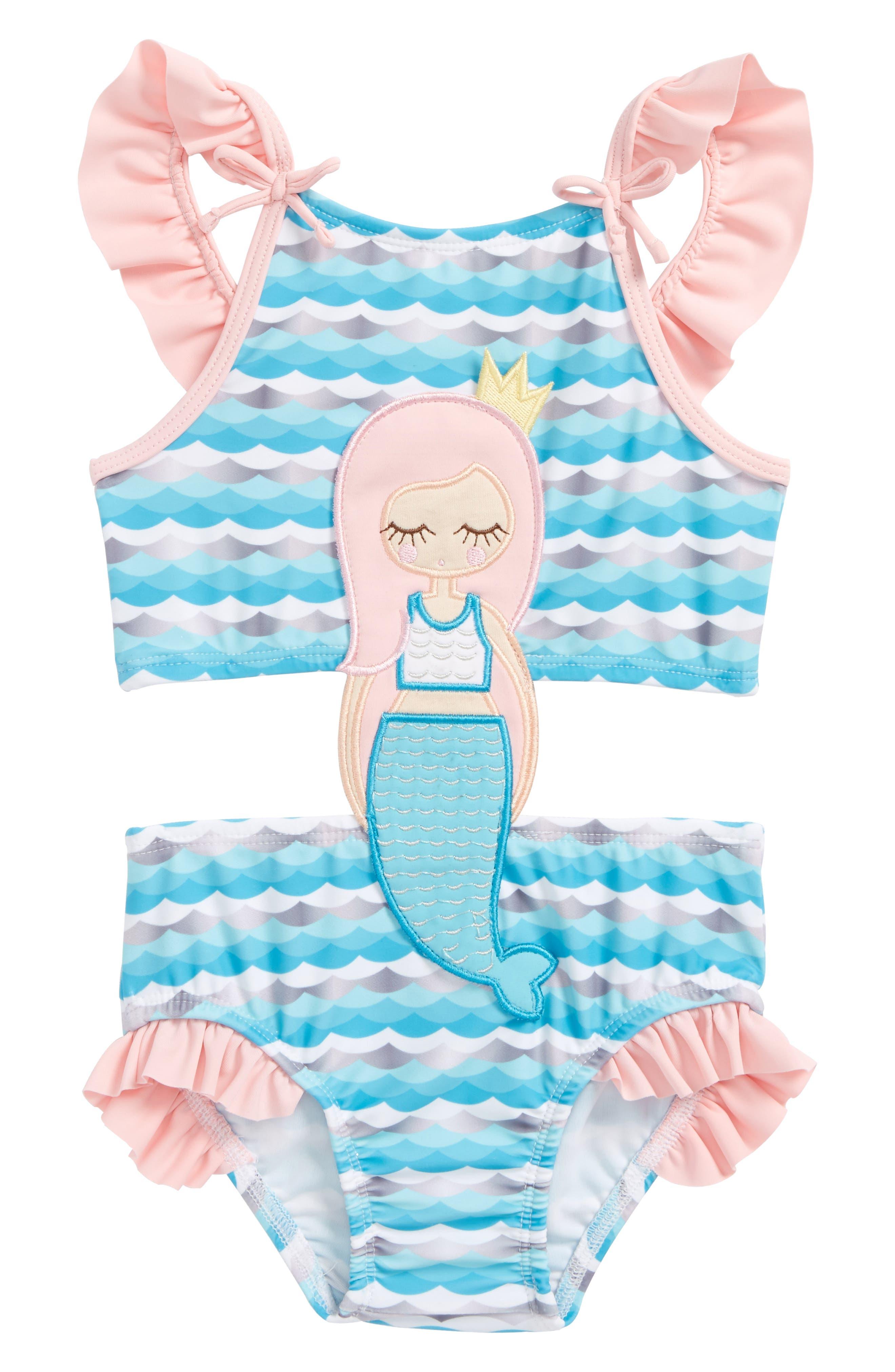 Mermaid One-Piece Swimsuit,                         Main,                         color, Blue Multi