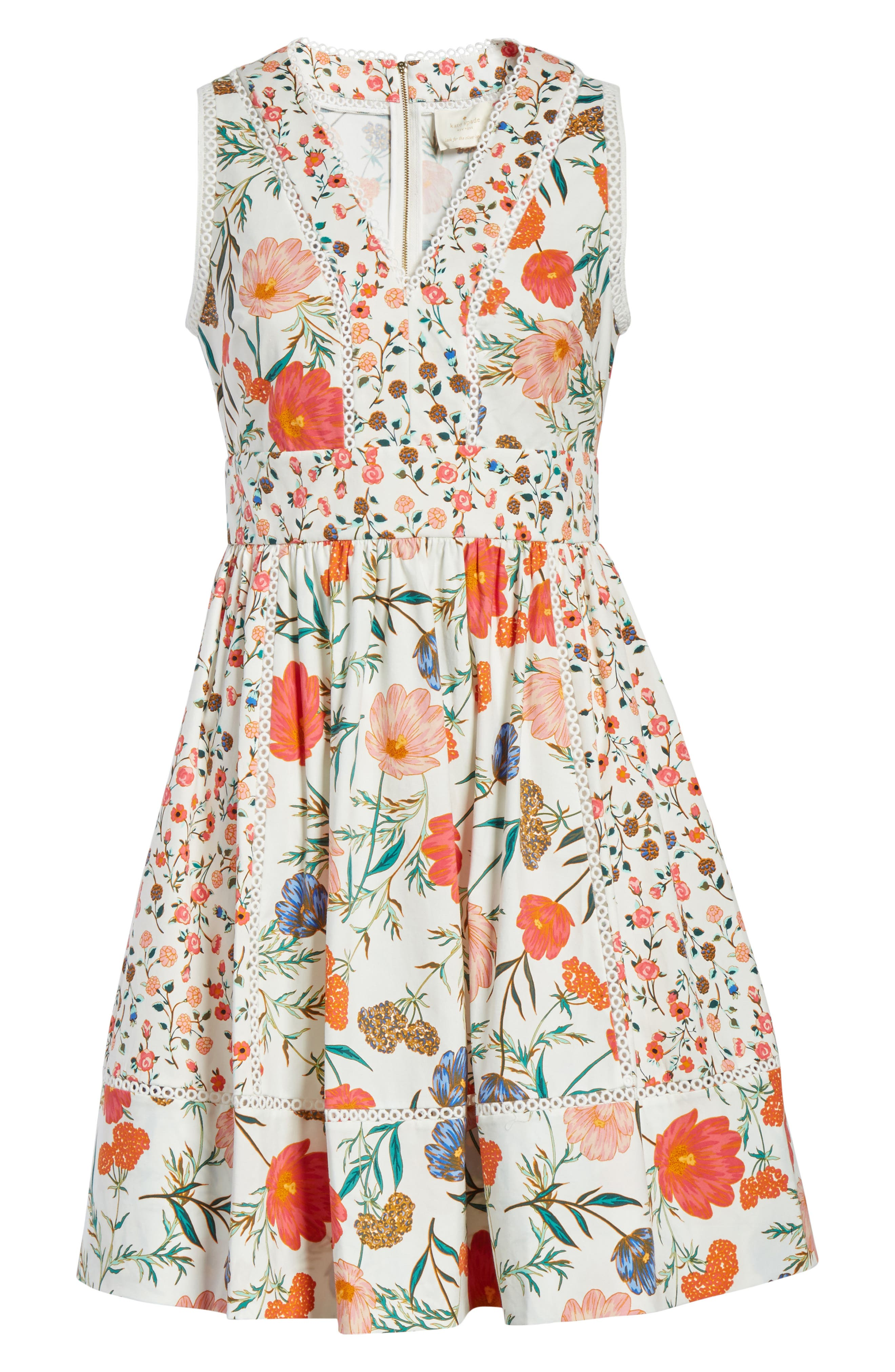 blossom sleeveless fit & flare dress,                             Alternate thumbnail 6, color,                             Cream