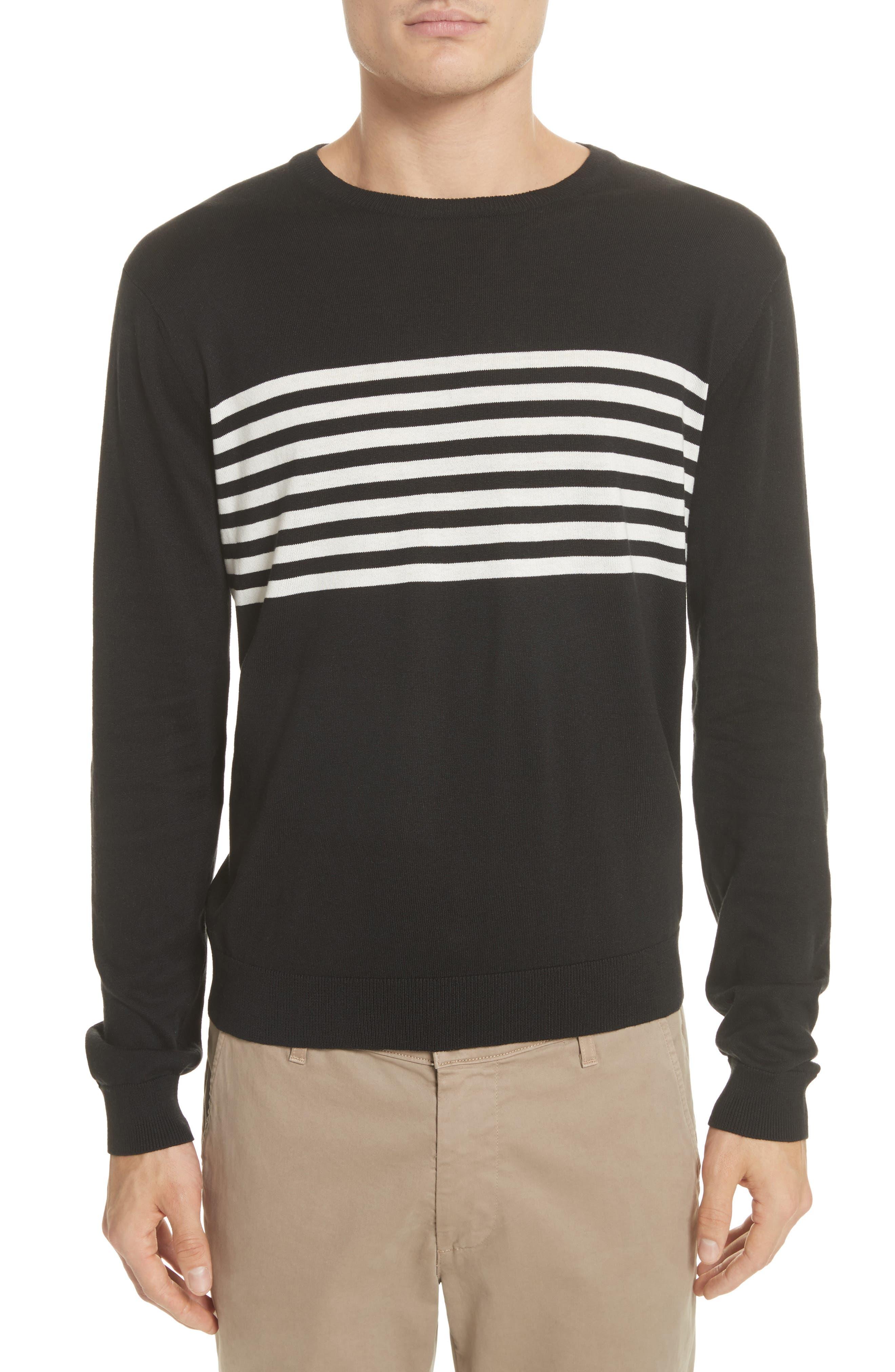 Stripe Silk & Cotton Sweater,                             Main thumbnail 1, color,                             Black