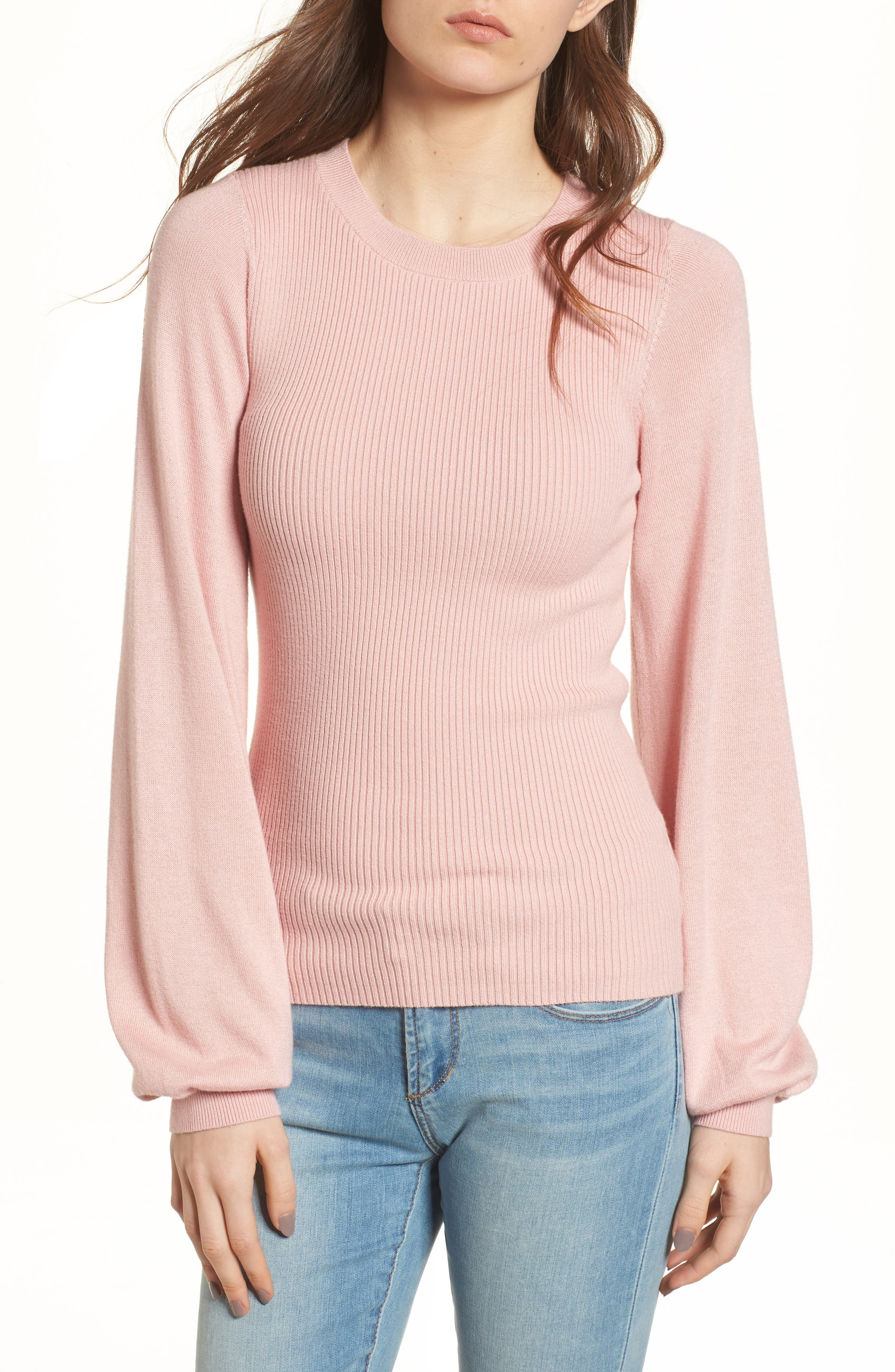 Corset Knit Sweater,                             Main thumbnail 1, color,                             Pink Silver