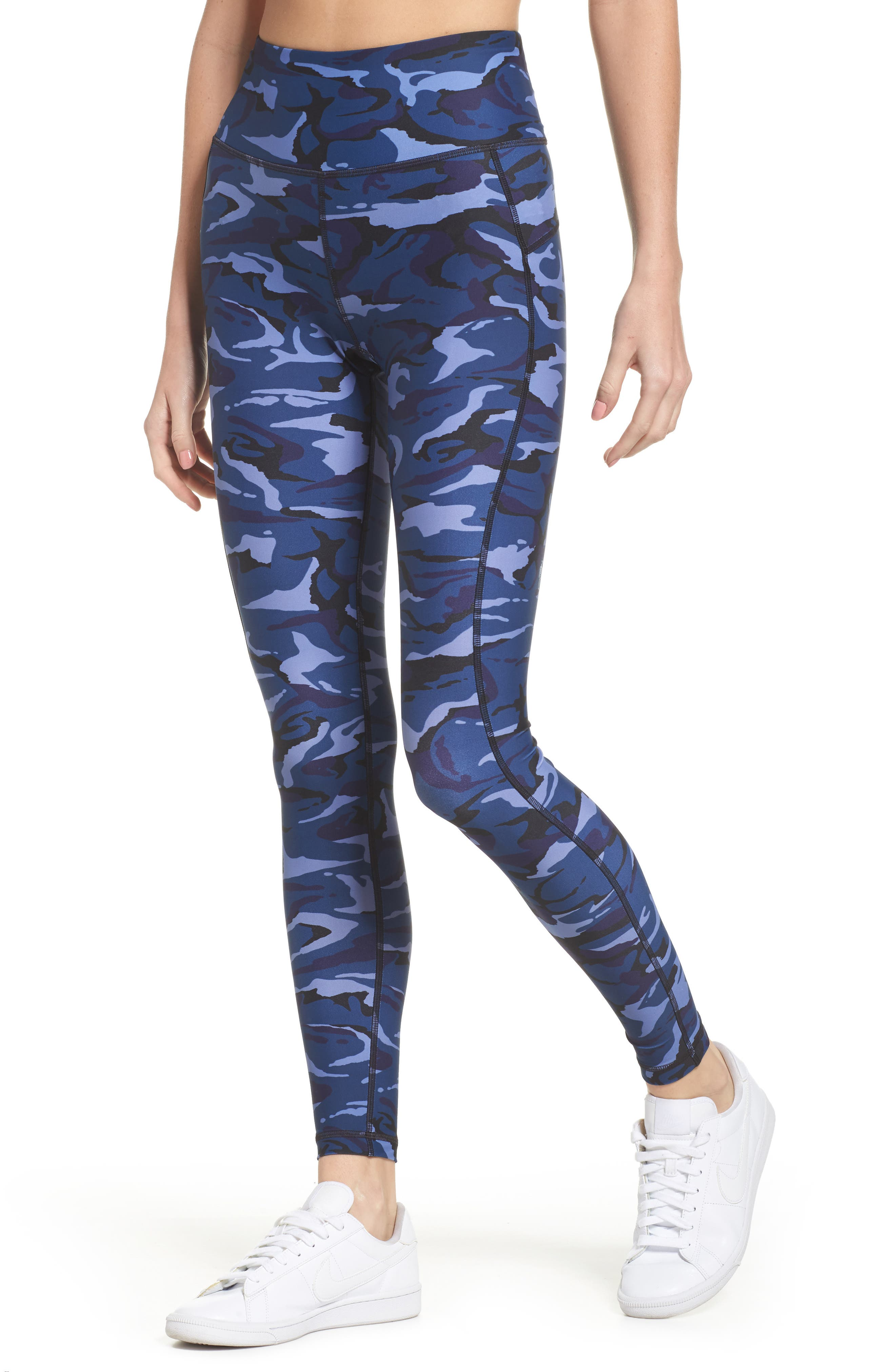 High Waist Camo Leggings,                         Main,                         color, Blue Camo