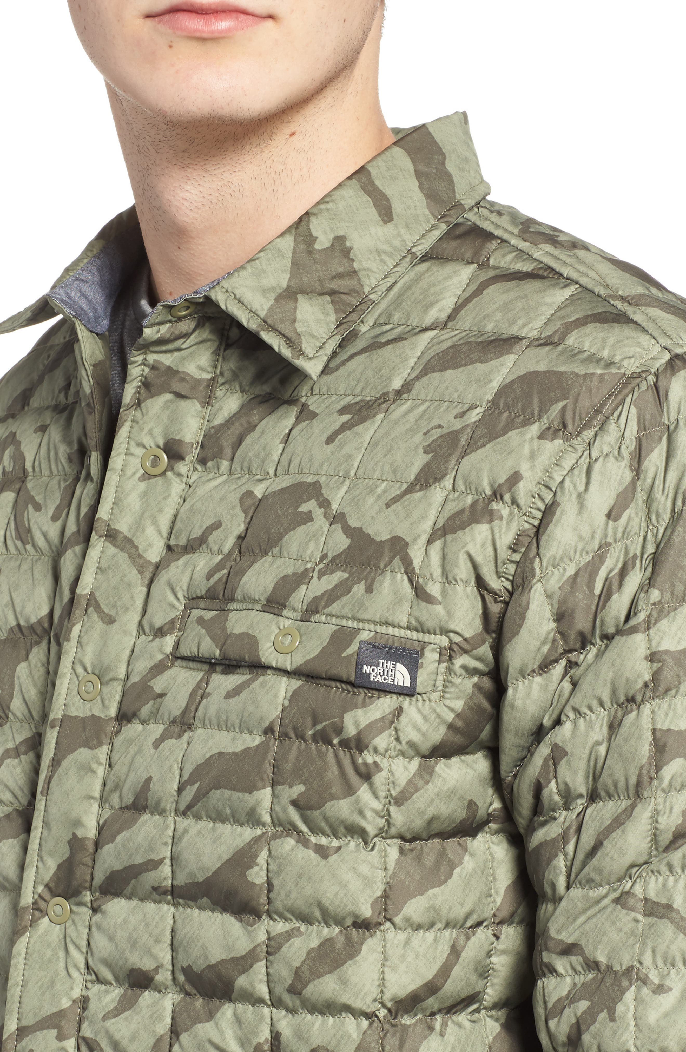 Reyes ThermoBall Shirt Jacket,                             Alternate thumbnail 4, color,                             Deep Lichen Green