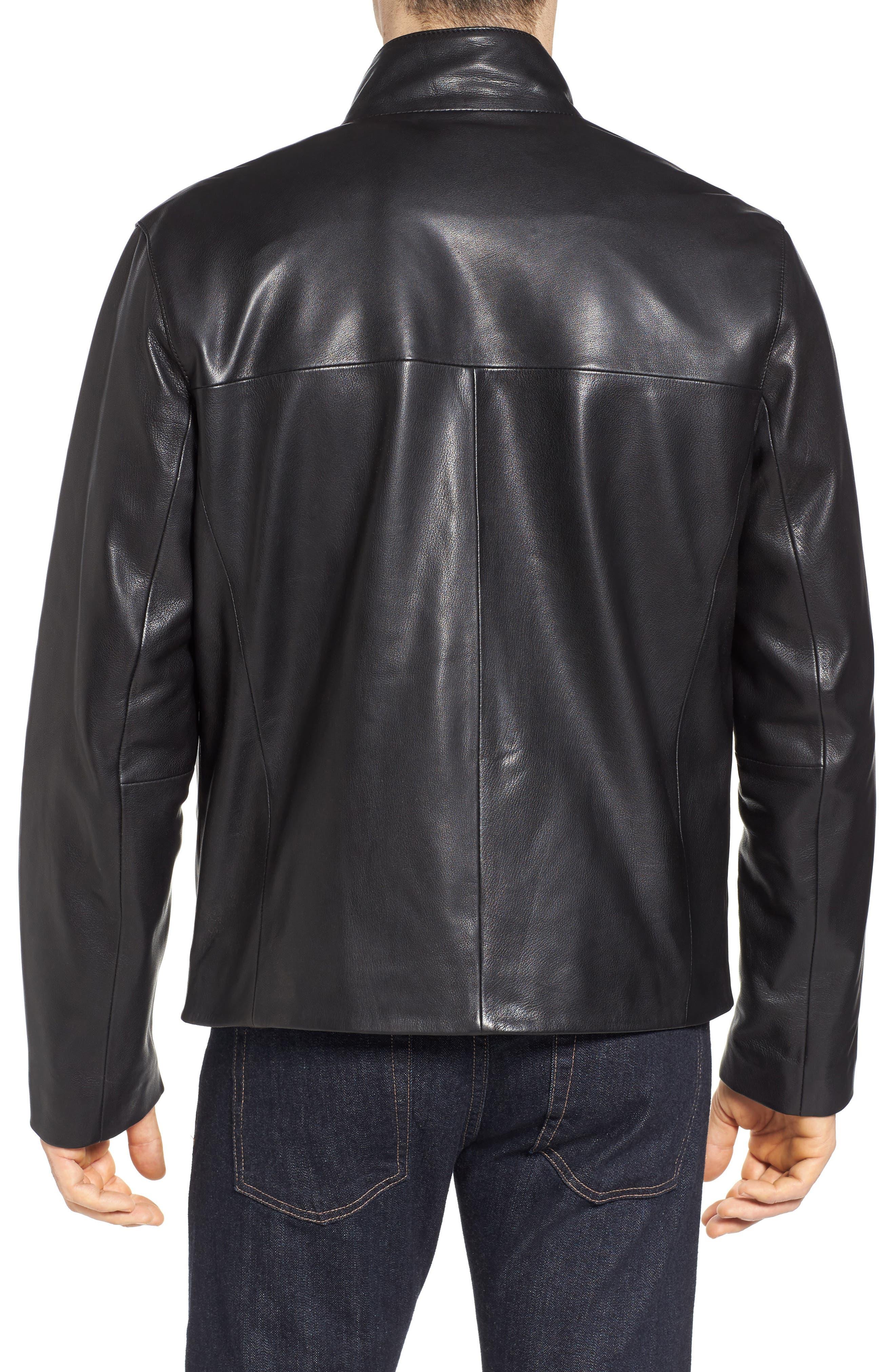 Washed Leather Jacket,                             Alternate thumbnail 2, color,                             Black