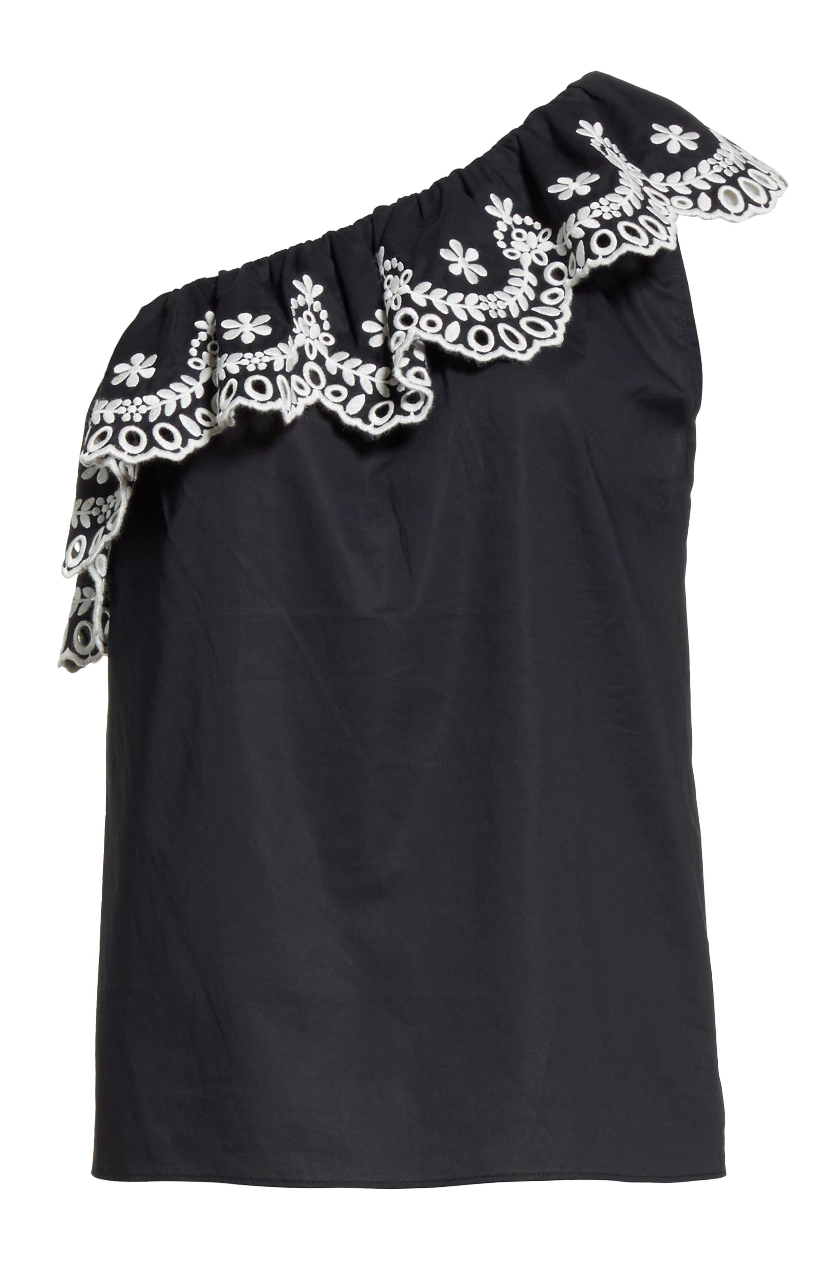 one-shoulder cutwork top,                             Alternate thumbnail 6, color,                             Black