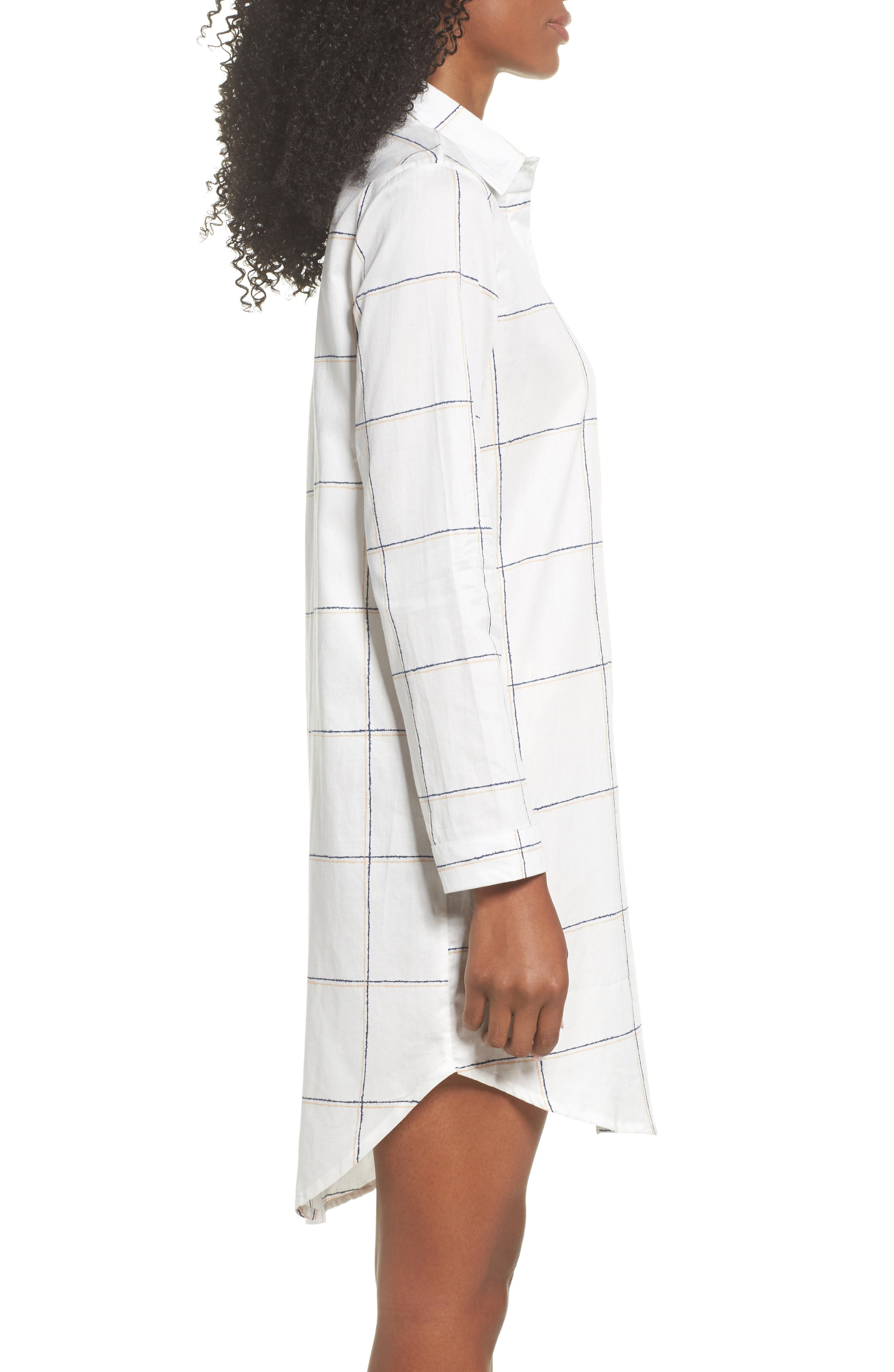 Evey Nightshirt,                             Alternate thumbnail 3, color,                             Coffee Check White