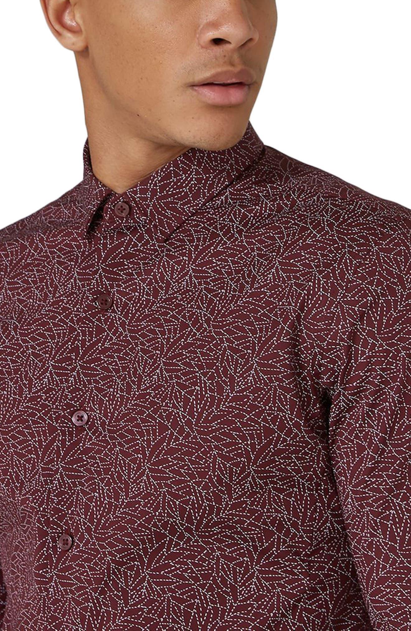 Muscle Fit Line Print Sport Shirt,                             Alternate thumbnail 2, color,                             Burgundy Multi