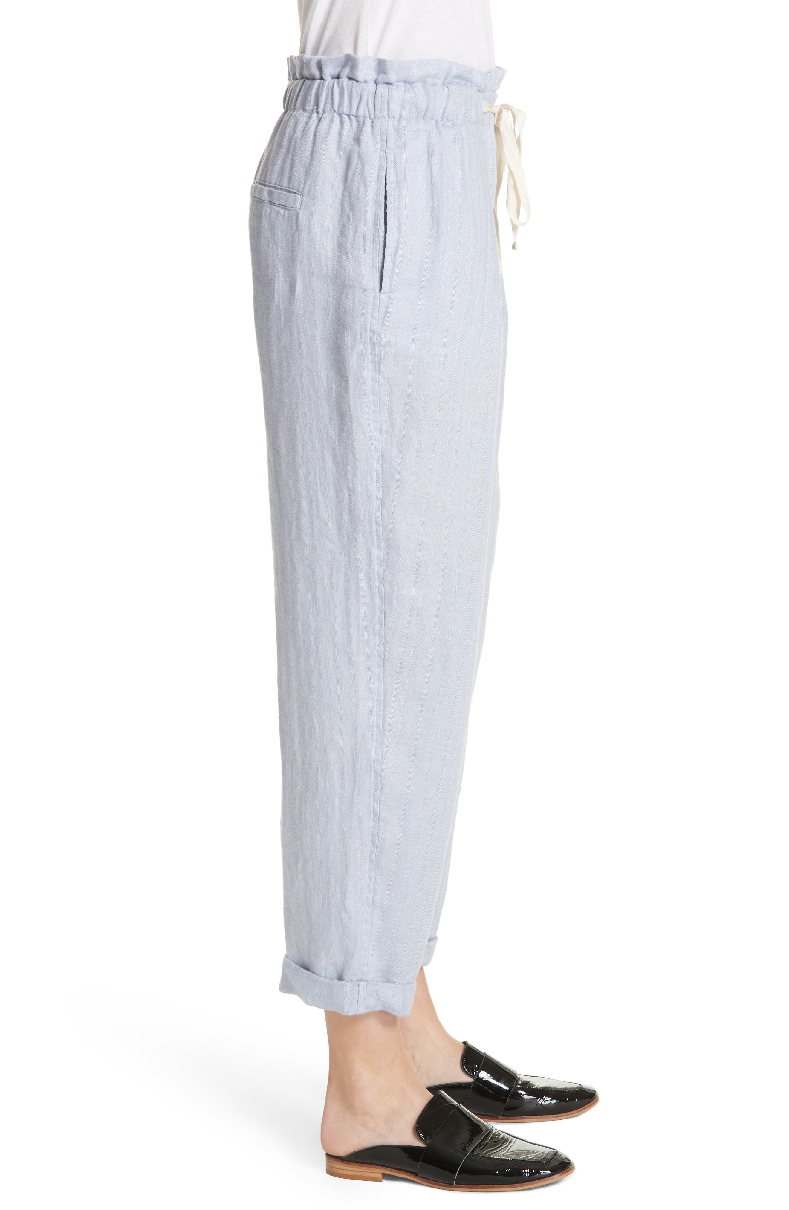Only over You Linen Trousers,                             Alternate thumbnail 3, color,                             Pearl