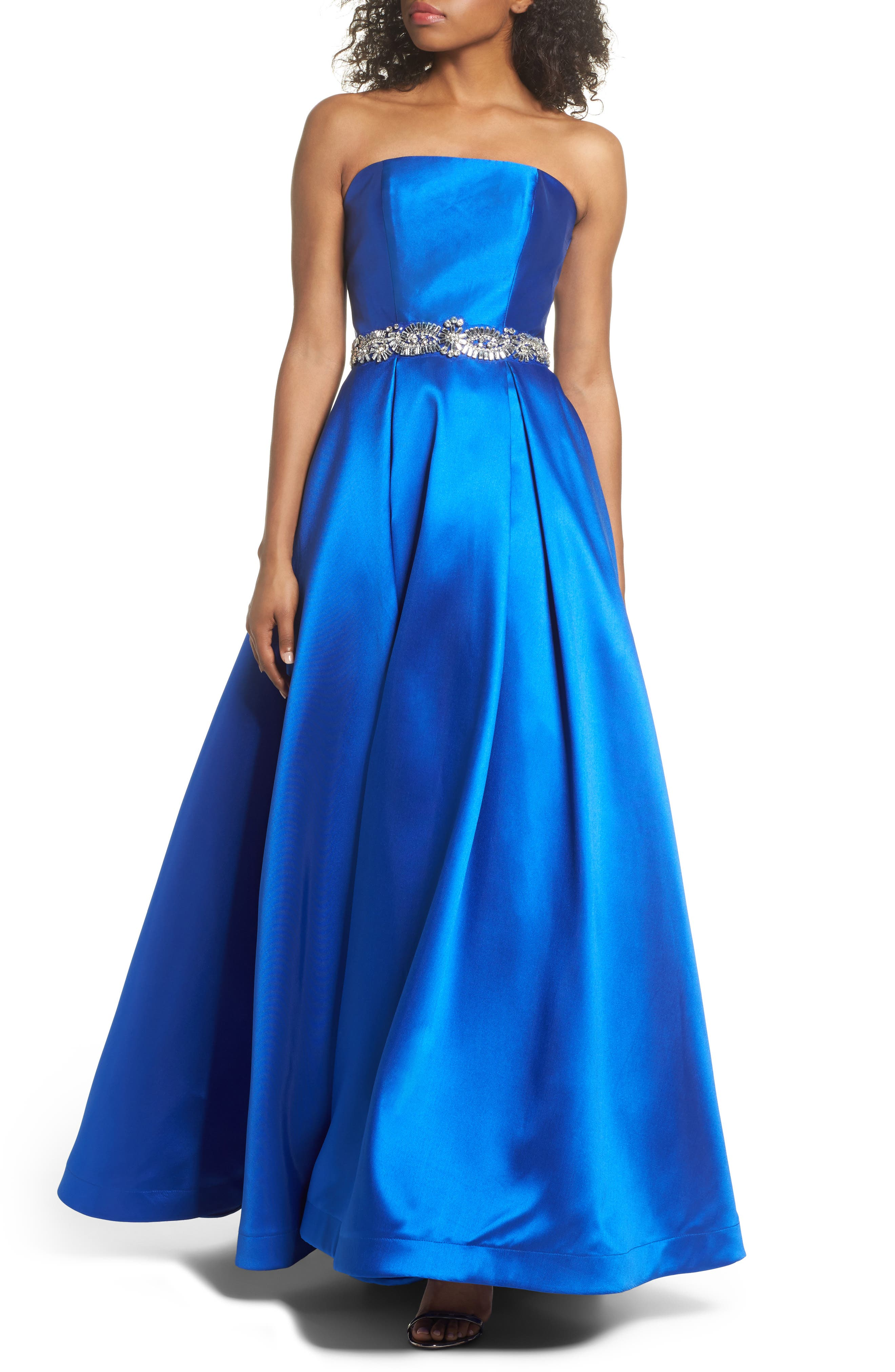 Embellished Strapless Ballgown,                             Main thumbnail 1, color,                             Blue