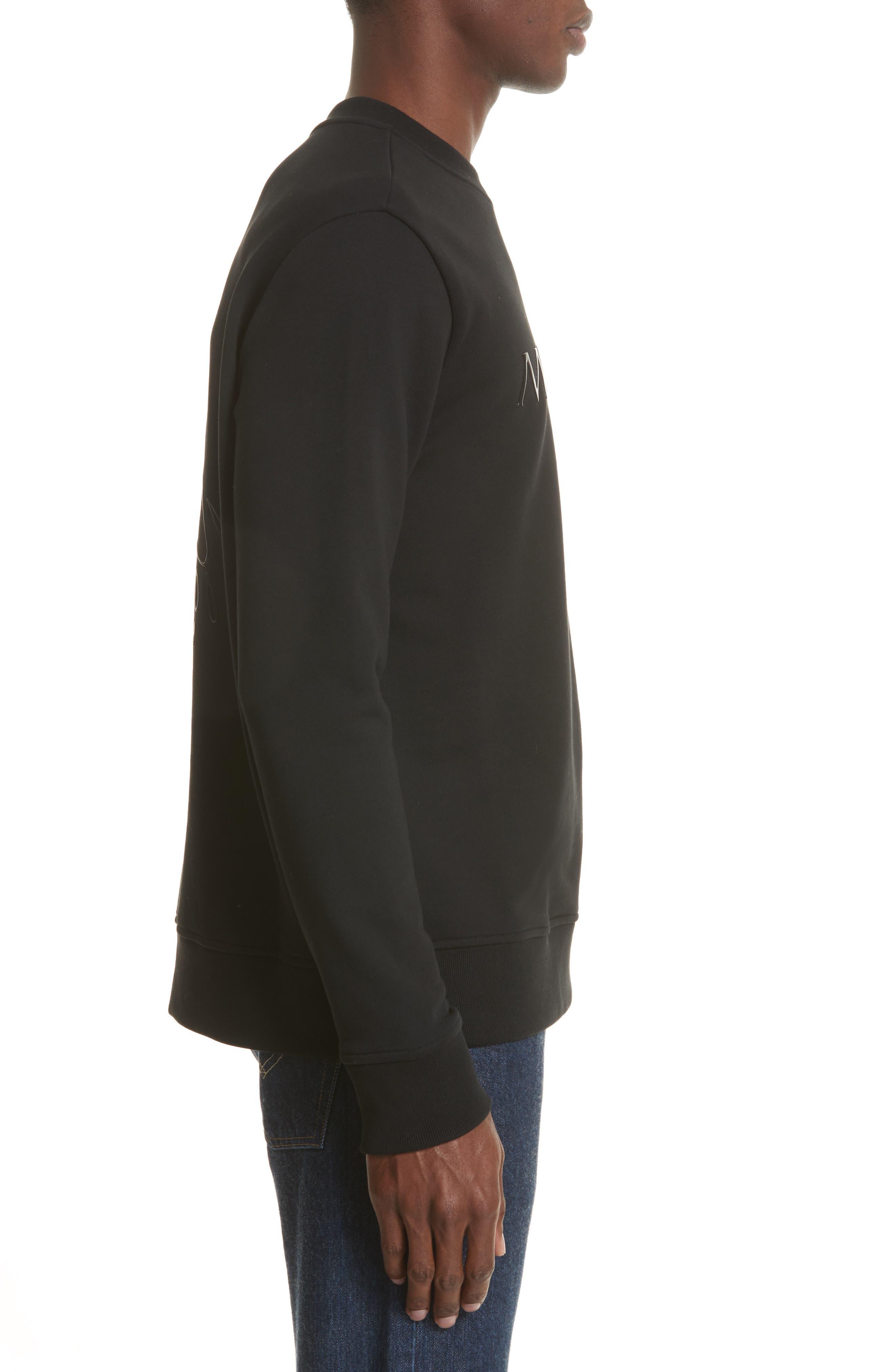 Maglia Griccollo Side Zip Crewneck Sweatshirt,                             Alternate thumbnail 3, color,                             Black