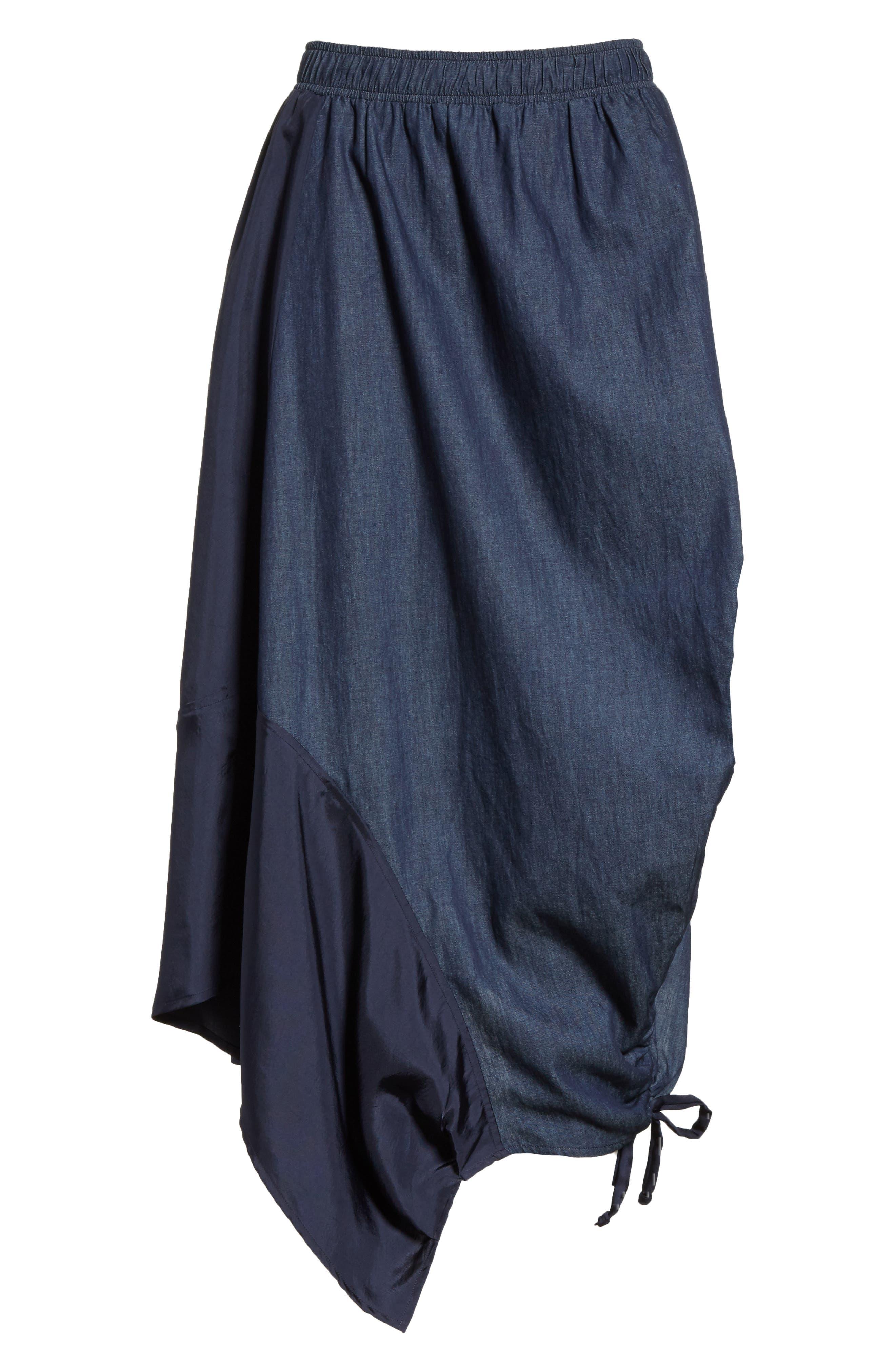 Asymmetrical Mixed Media Skirt,                             Alternate thumbnail 6, color,                             Navy