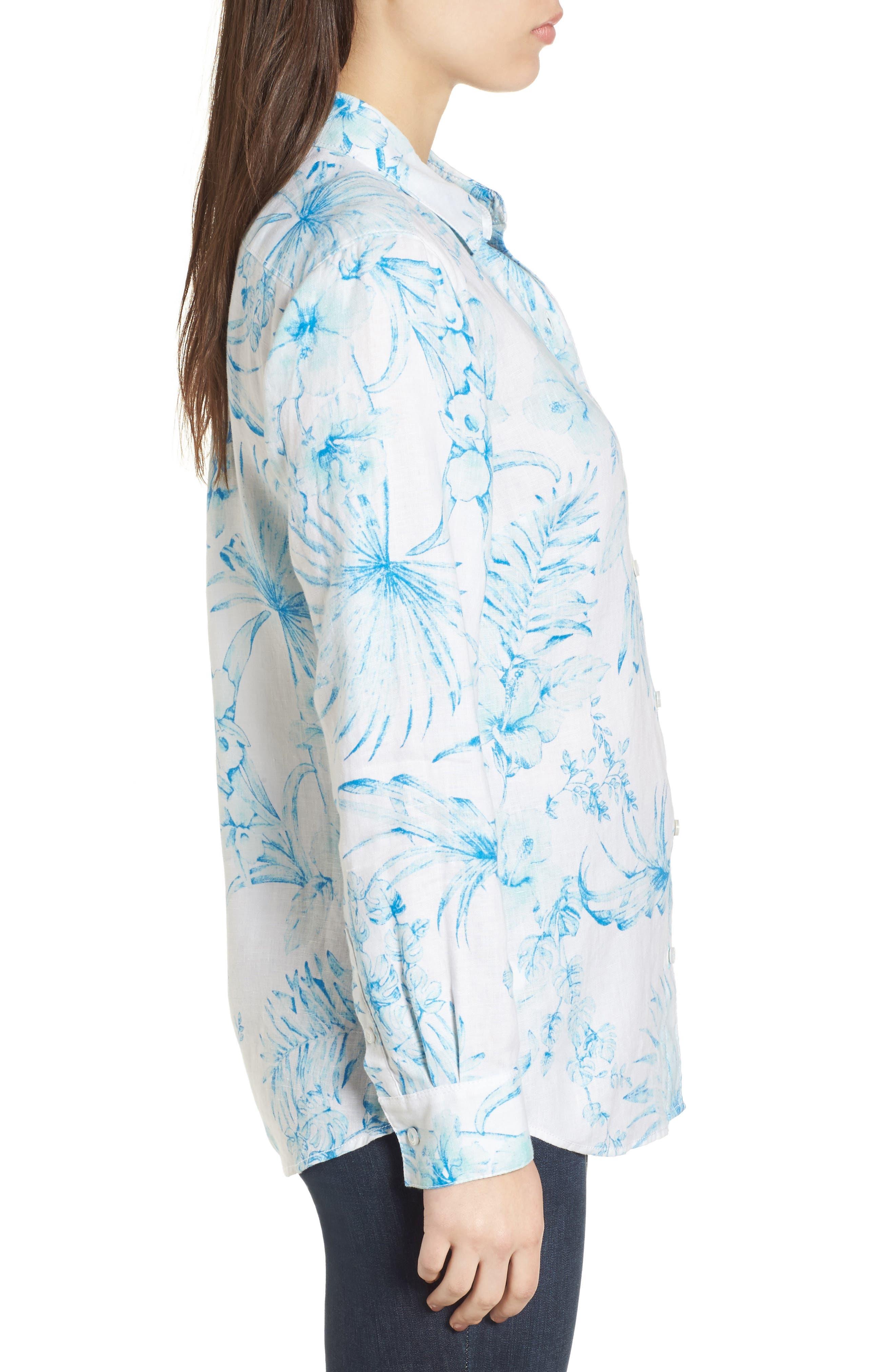 Tulum Tropical Linen Shirt,                             Alternate thumbnail 3, color,                             Blue Radiance