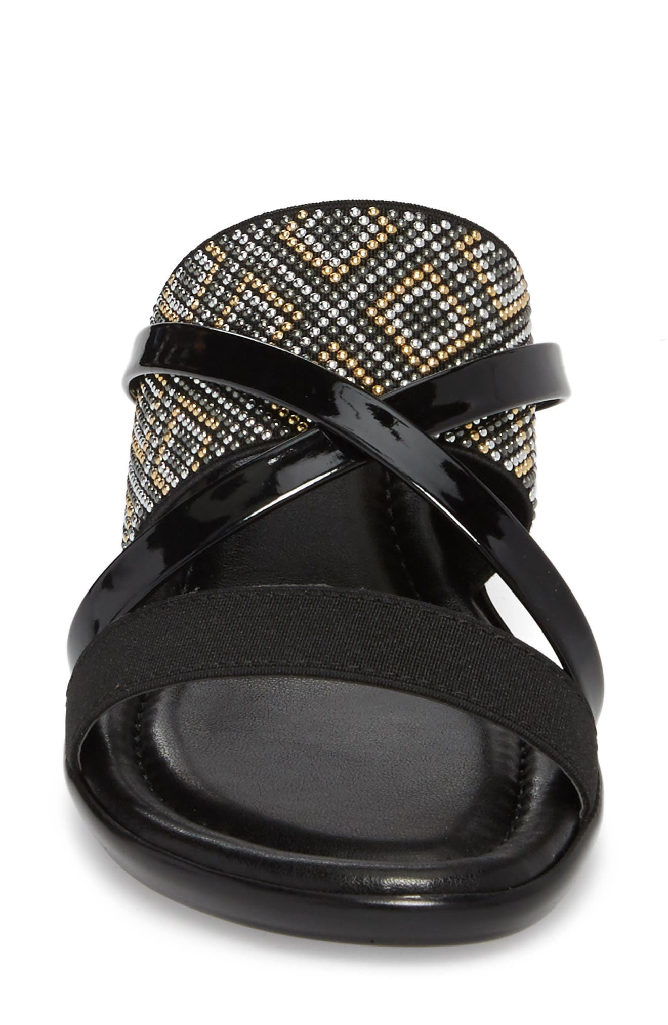 by Easy Street<sup>®</sup> Palazzo Sandal,                             Alternate thumbnail 4, color,                             Black Faux Leather