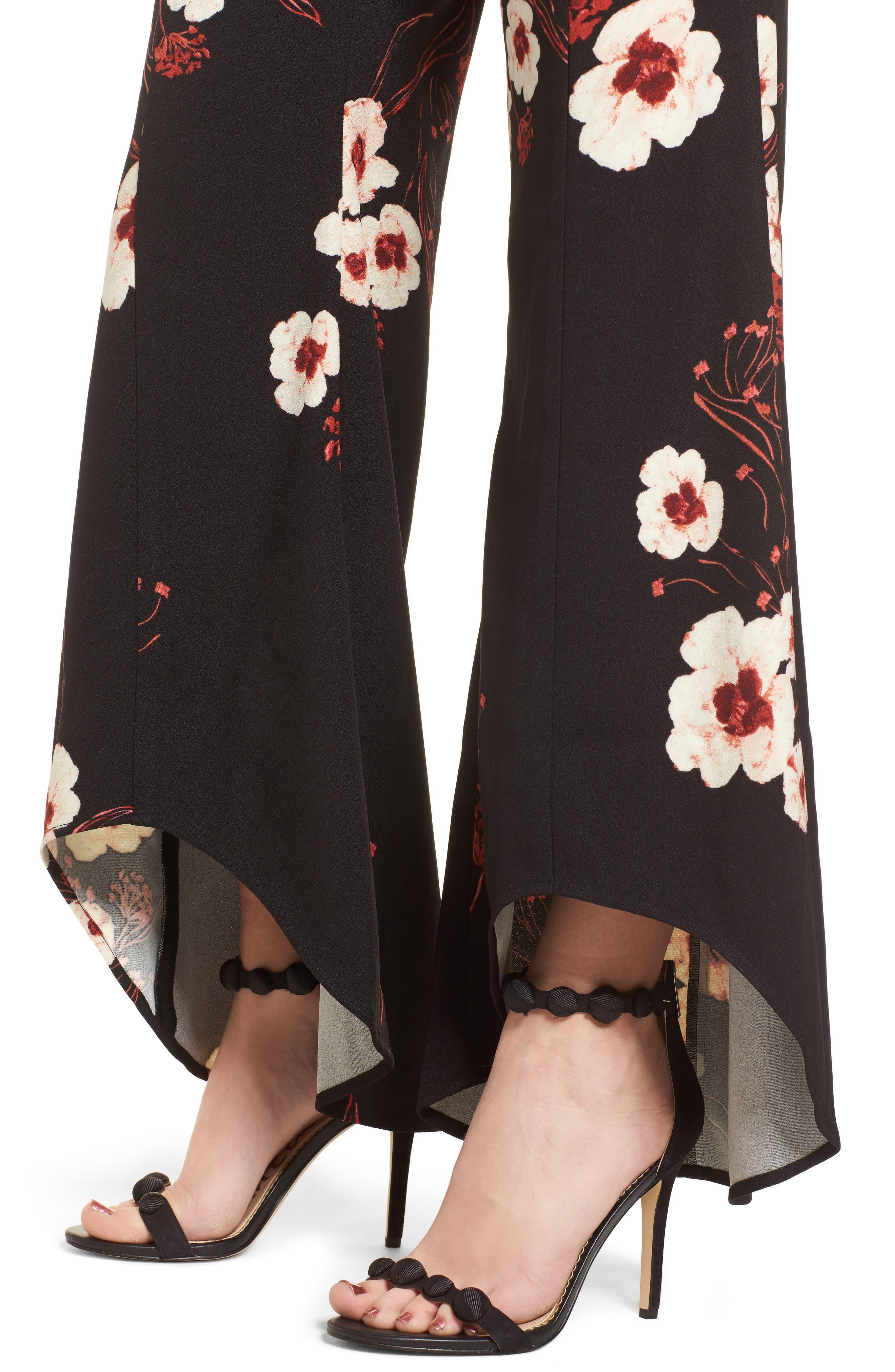 Flare Wide Leg Pants,                             Alternate thumbnail 4, color,                             Black Paint Flr