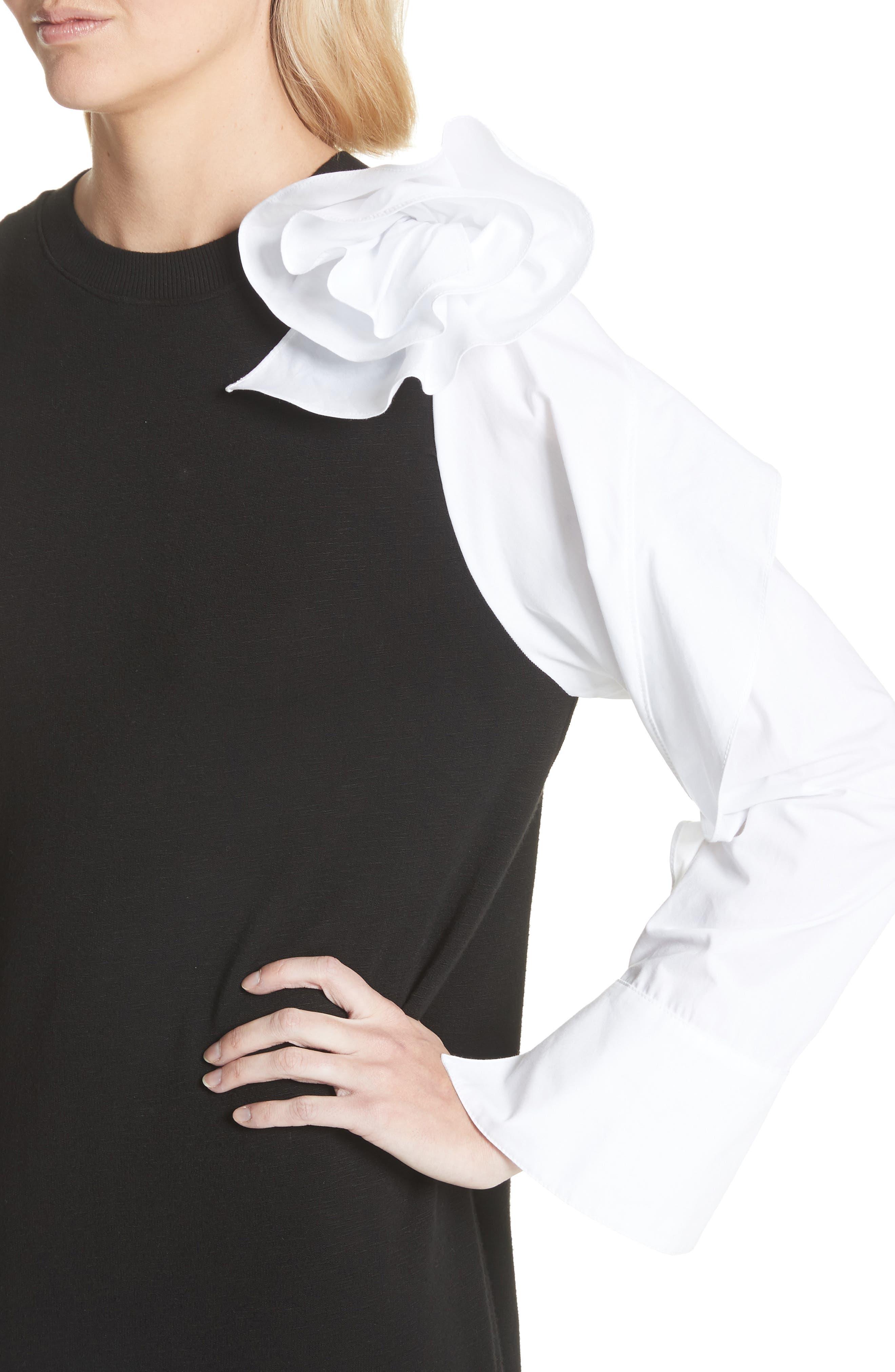 Bow Sleeve Midi Dress,                             Alternate thumbnail 4, color,                             Black