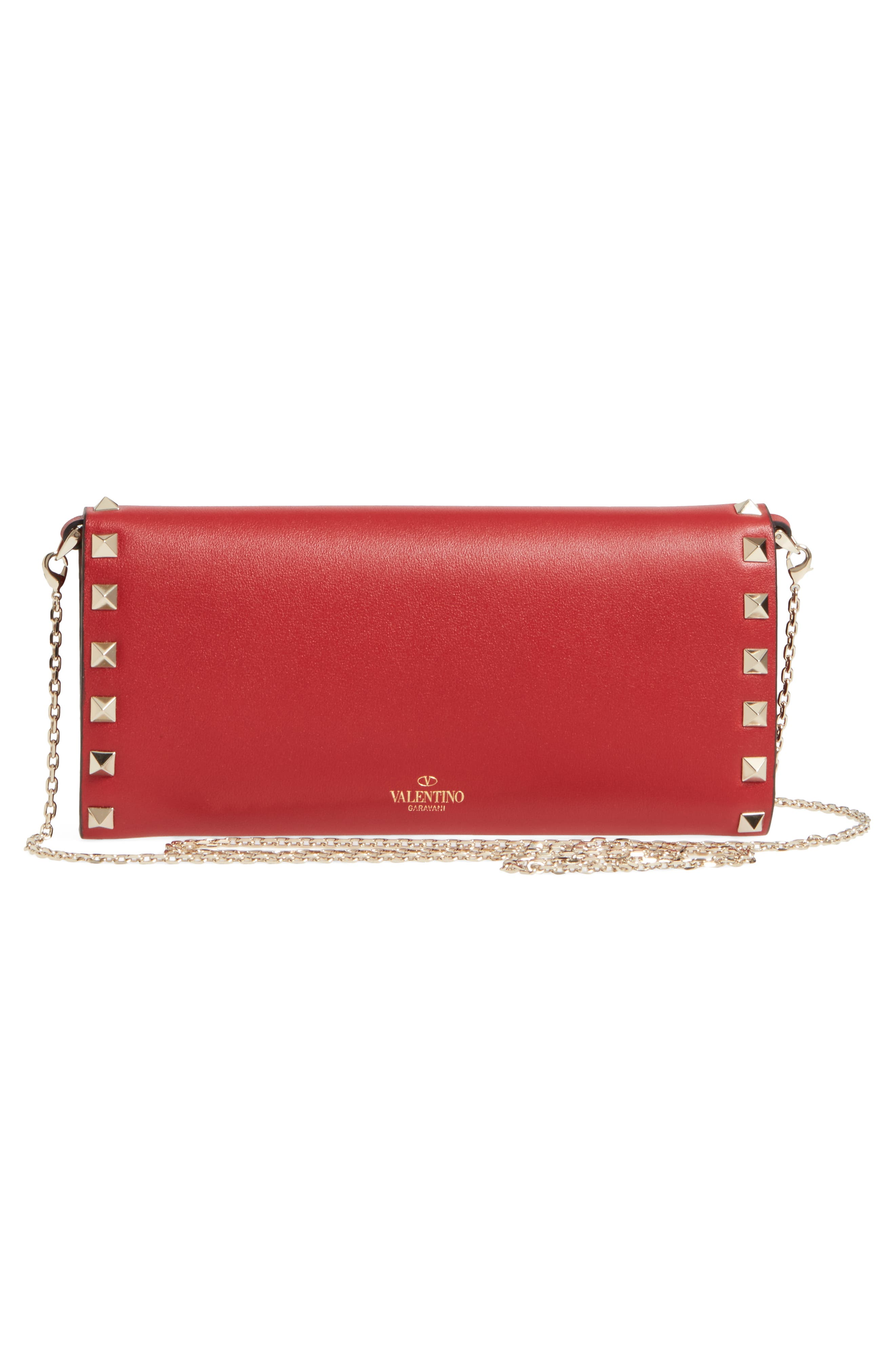 Rockstud Leather Wallet on a Chain,                             Alternate thumbnail 4, color,                             Rossa