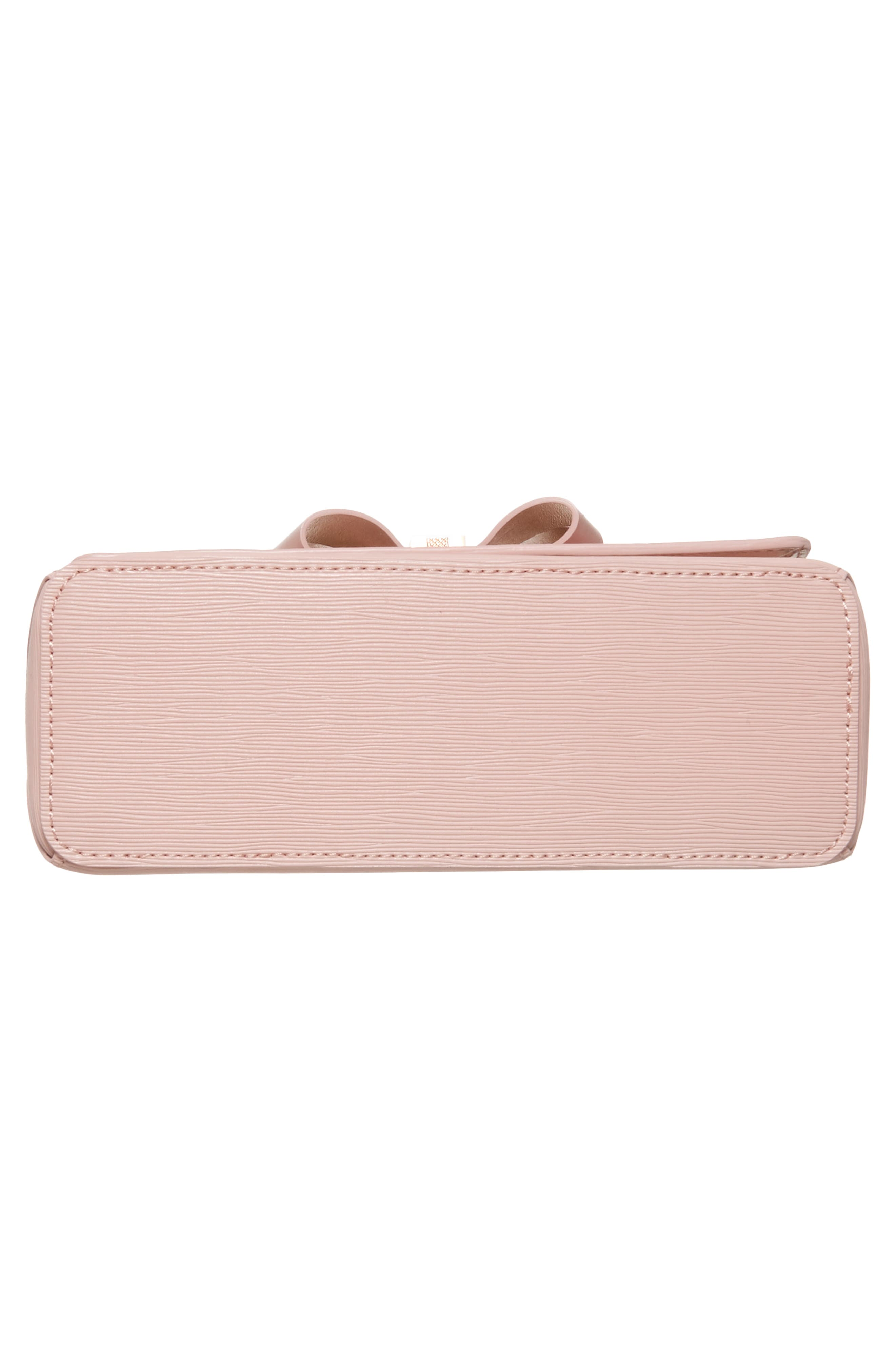Bowii Bow Mini Bark Leather Crossbody Bag,                             Alternate thumbnail 6, color,                             Light Pink