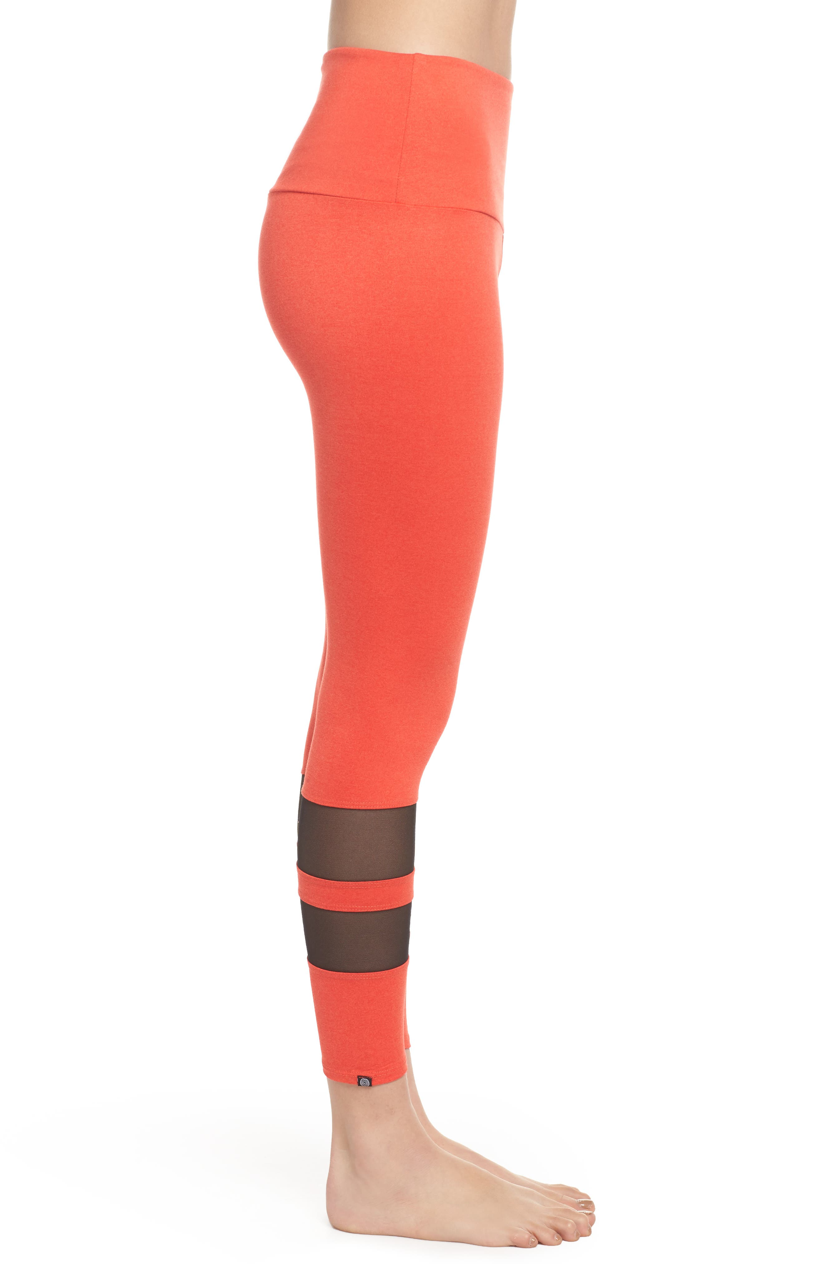 Racer Leggings,                             Alternate thumbnail 3, color,                             Coral Majestic/ Black Mesh