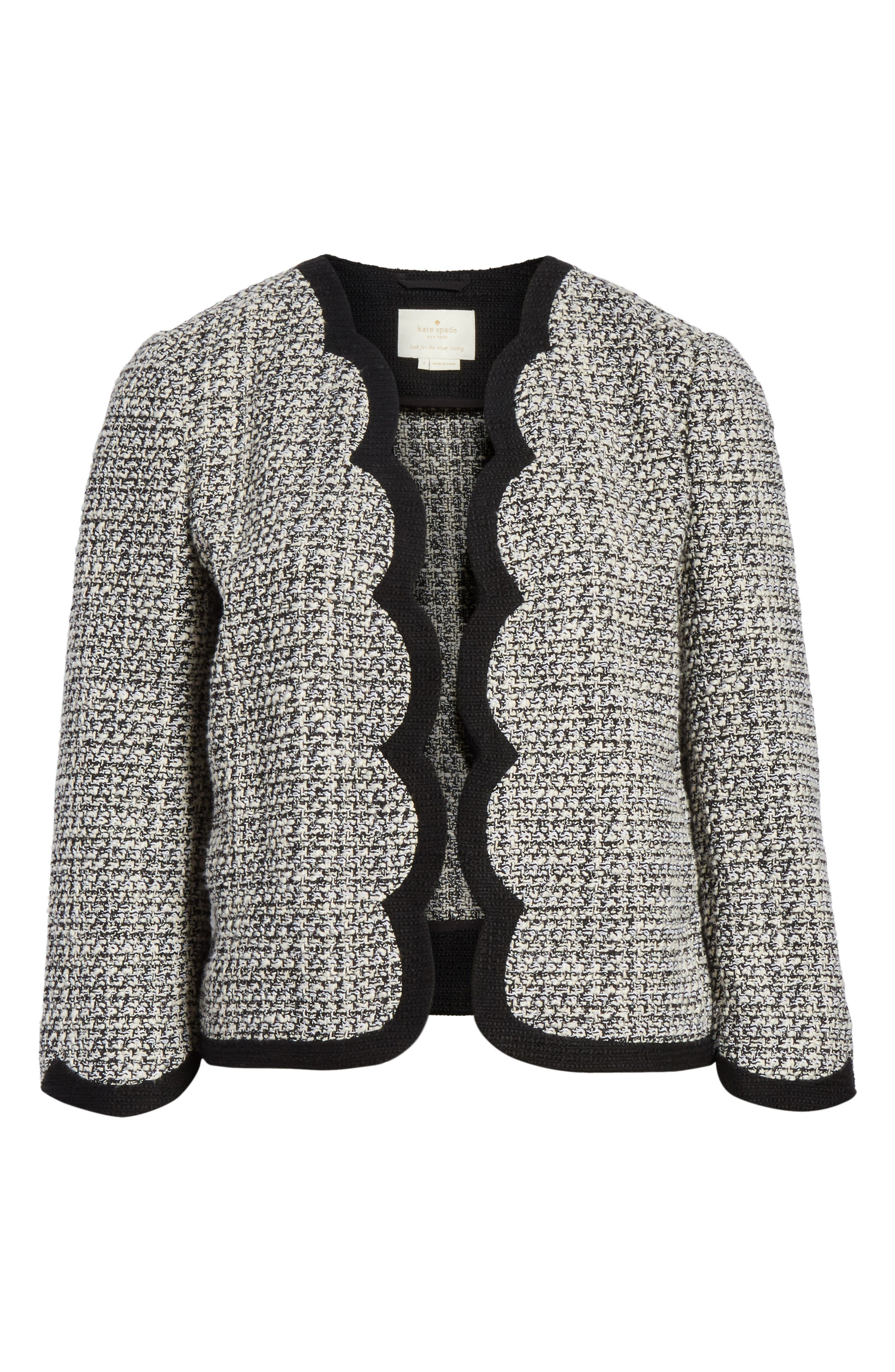 scallop tweed jacket,                             Alternate thumbnail 6, color,                             Black/ Cream