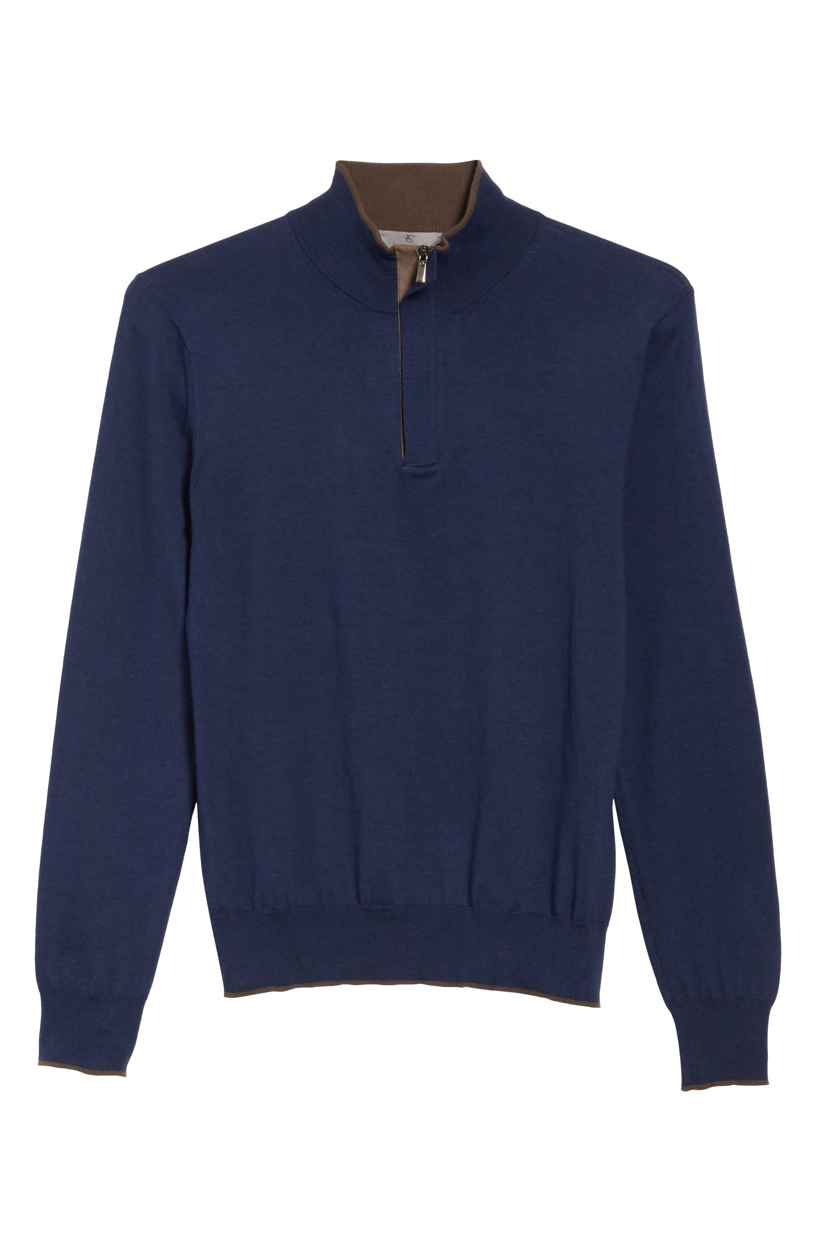 Quarter Zip Sweater,                             Alternate thumbnail 6, color,                             Dark Blue