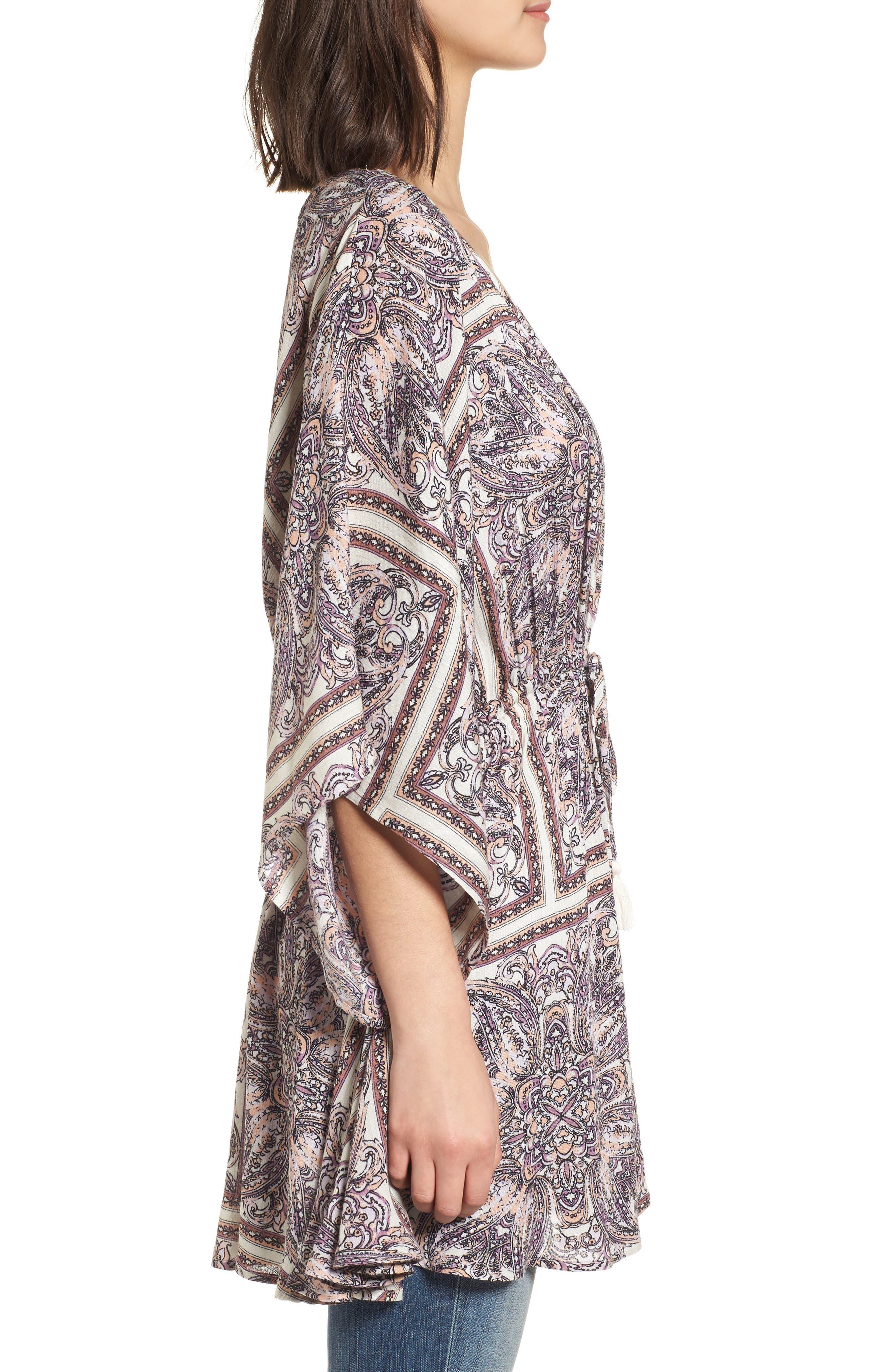 Royal Tiles Cover-Up Kimono,                             Alternate thumbnail 3, color,                             Ivory Combo