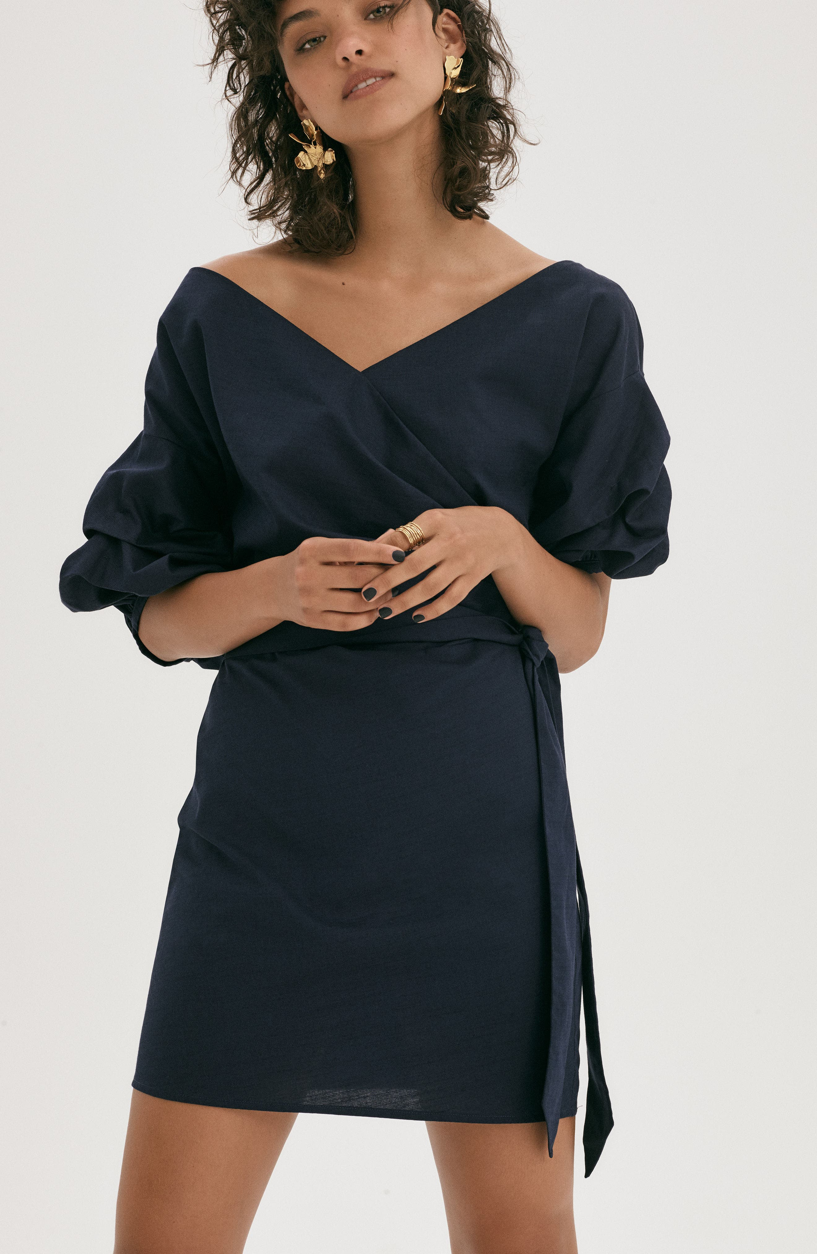Billow Sleeve Dress,                             Alternate thumbnail 3, color,                             Navy Sapphire