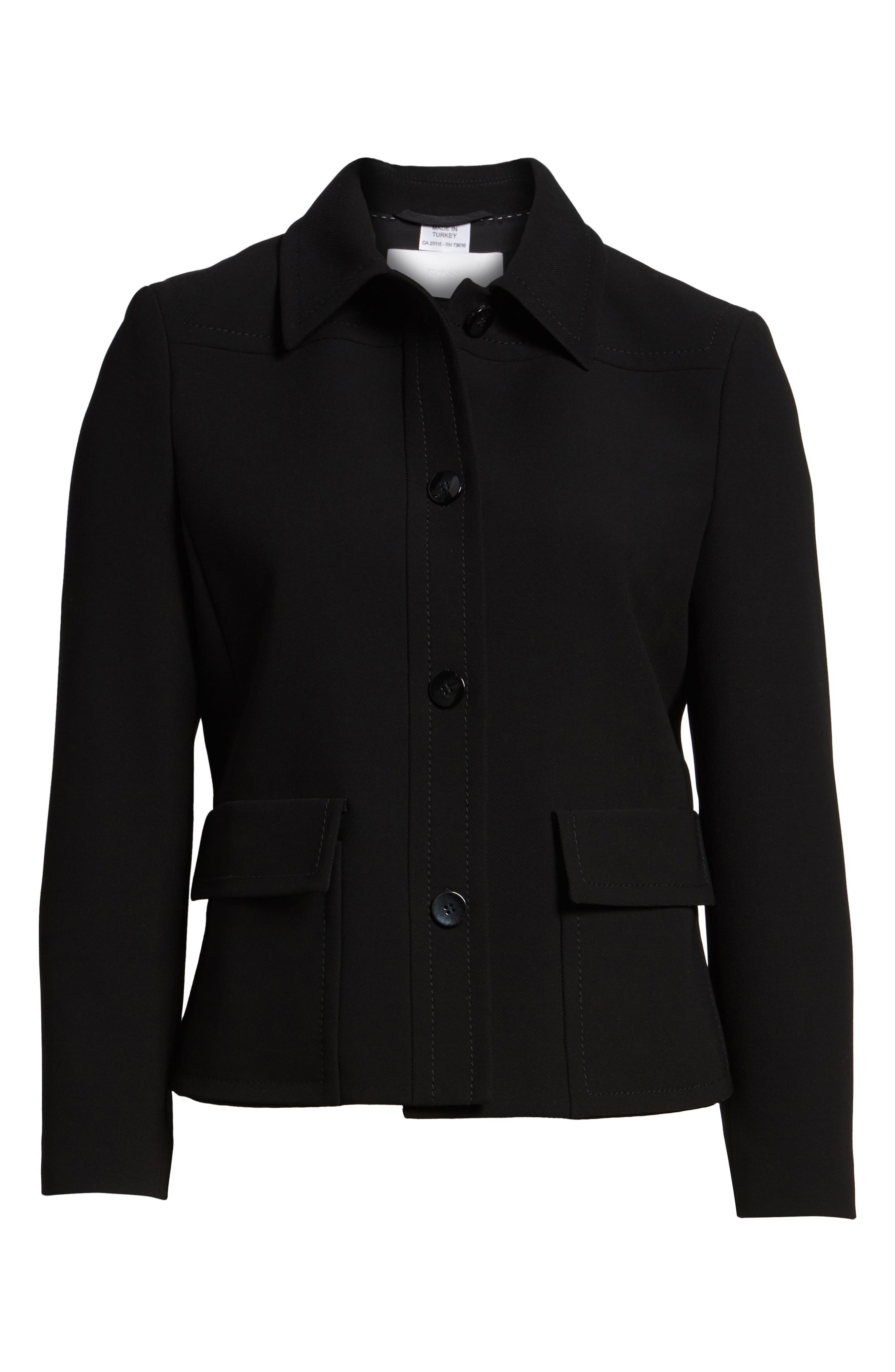 Juriona Crop Jacket,                             Alternate thumbnail 6, color,                             Black