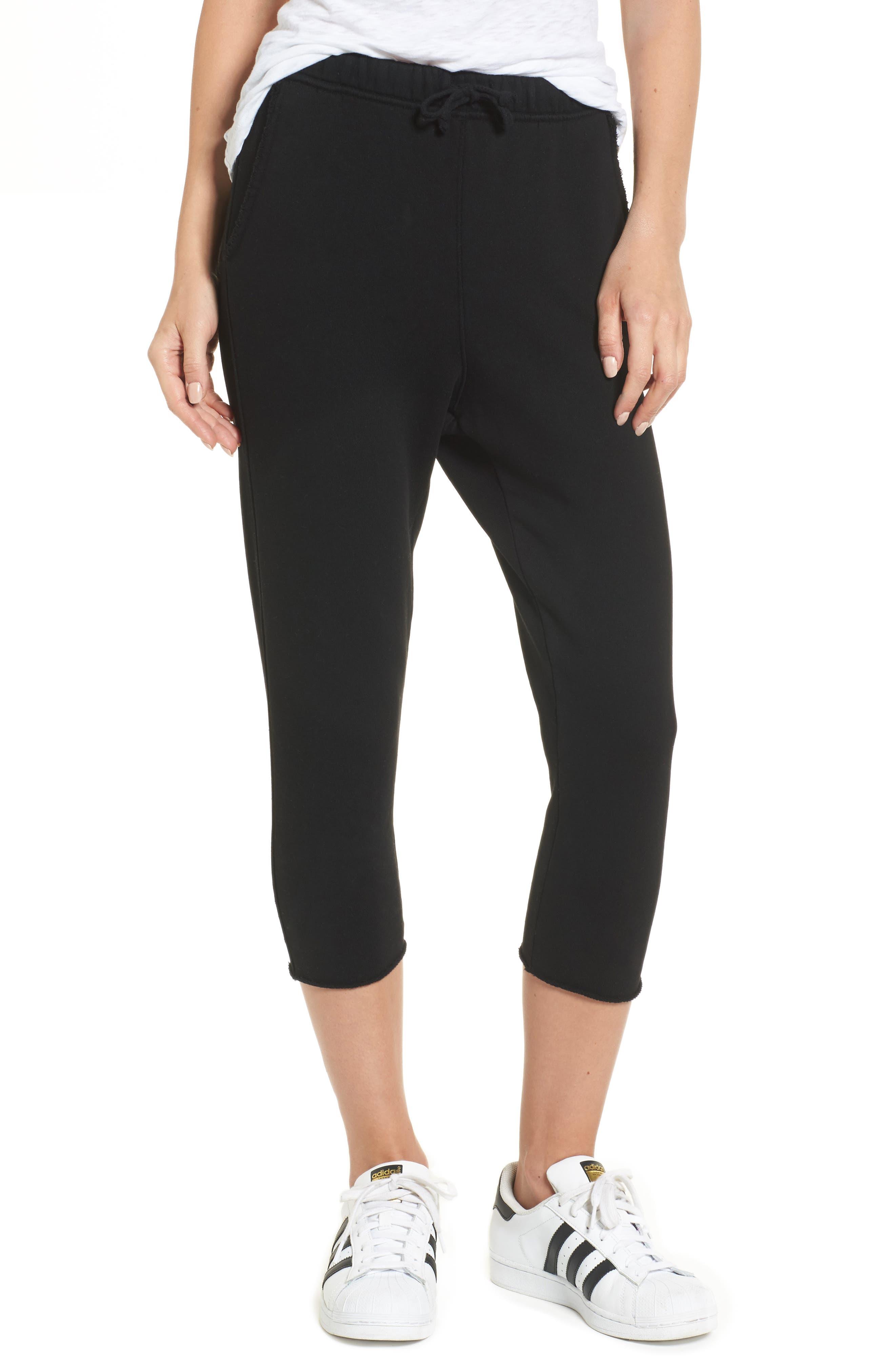 Raw Hem Crop Sweatpants,                         Main,                         color, Blackout