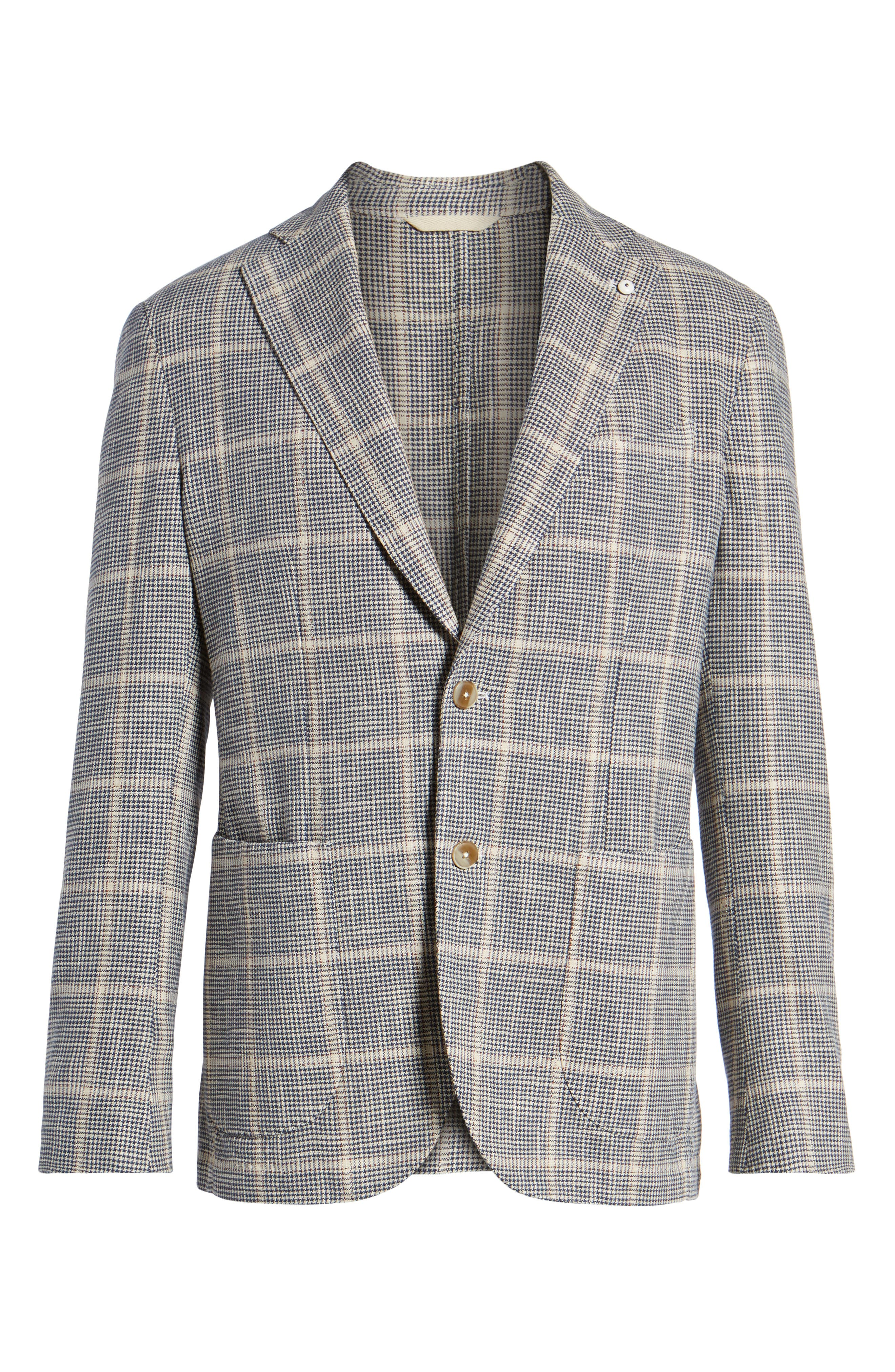 Classic Fit Windowpane Cotton & Silk Sport Coat,                             Alternate thumbnail 6, color,                             Light/ Pastel Brown