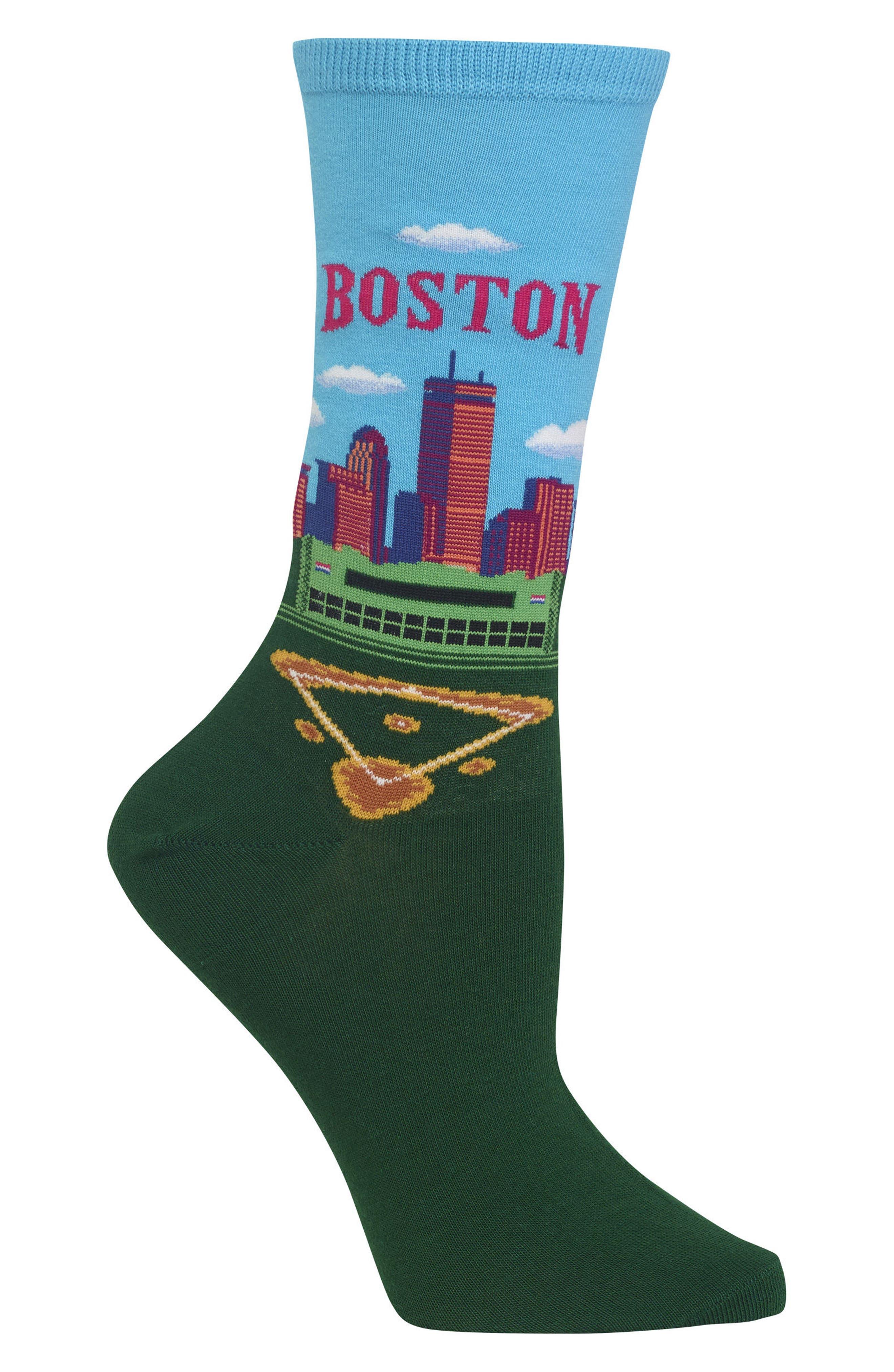 Travel Series - Boston Crew Socks,                             Alternate thumbnail 3, color,                             Light Blue