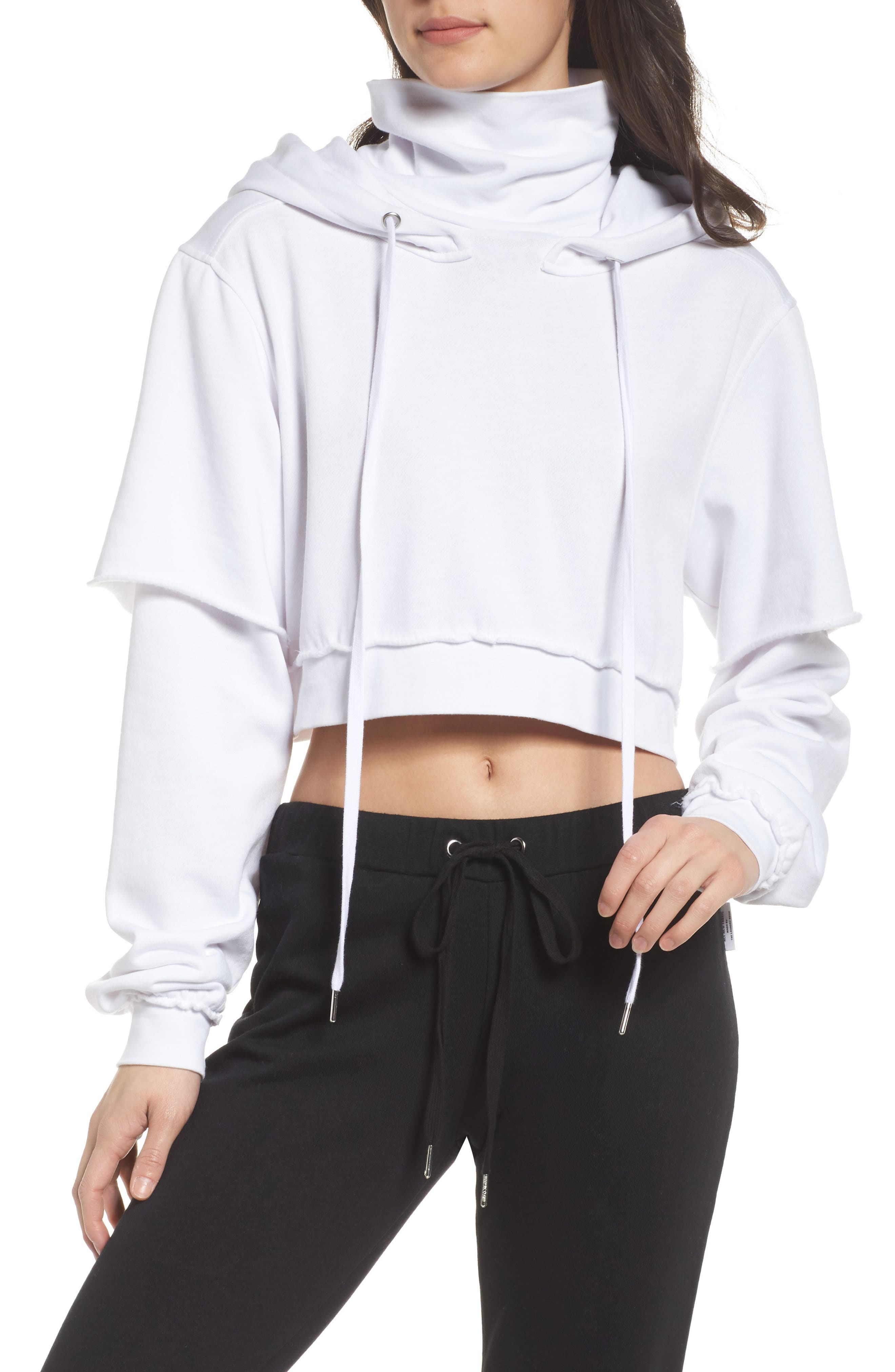 Good Hood Crop Hoodie,                             Main thumbnail 1, color,                             White