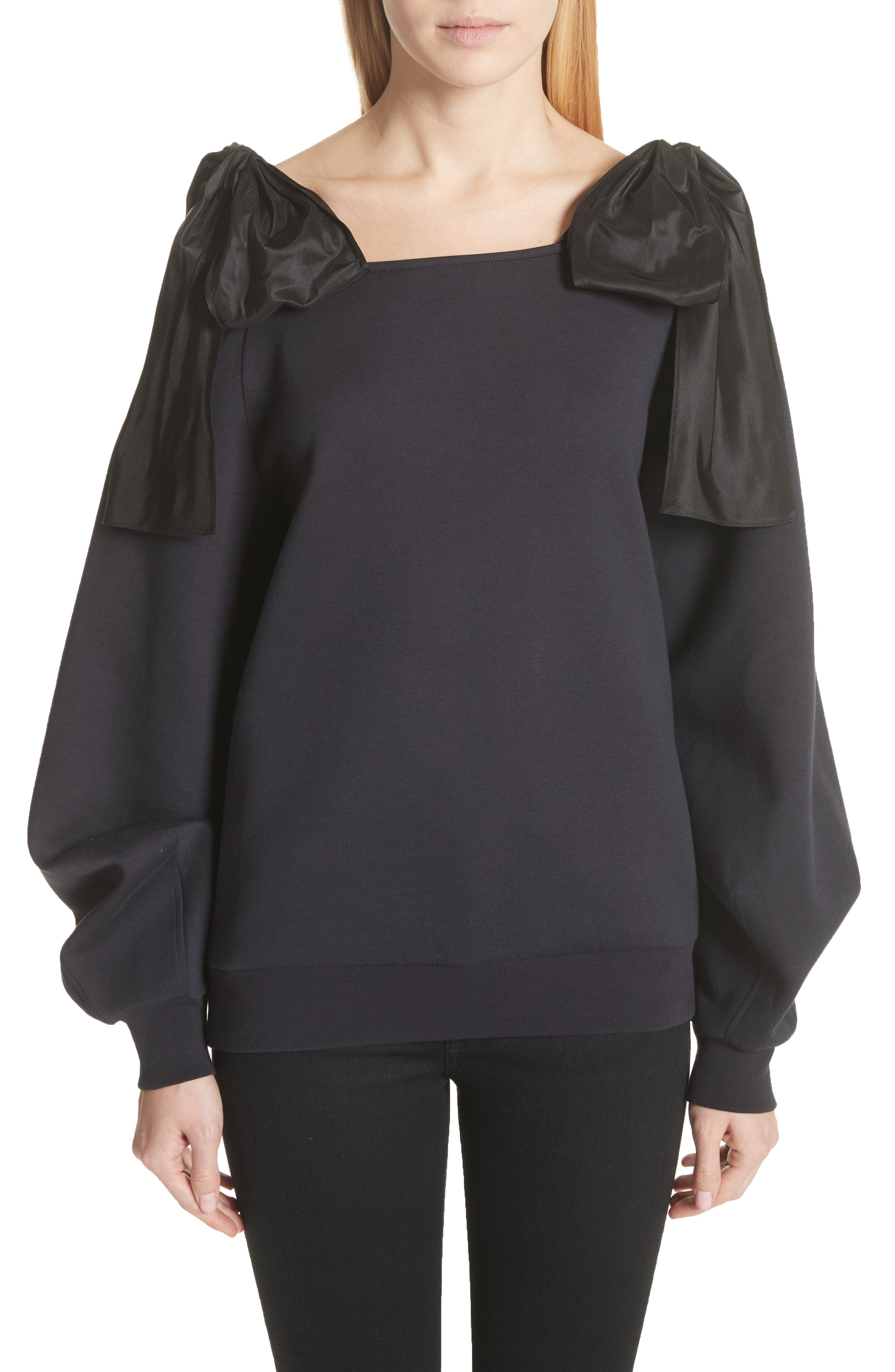Bow Strap Cold Shoulder Sweatshirt,                         Main,                         color, Ink