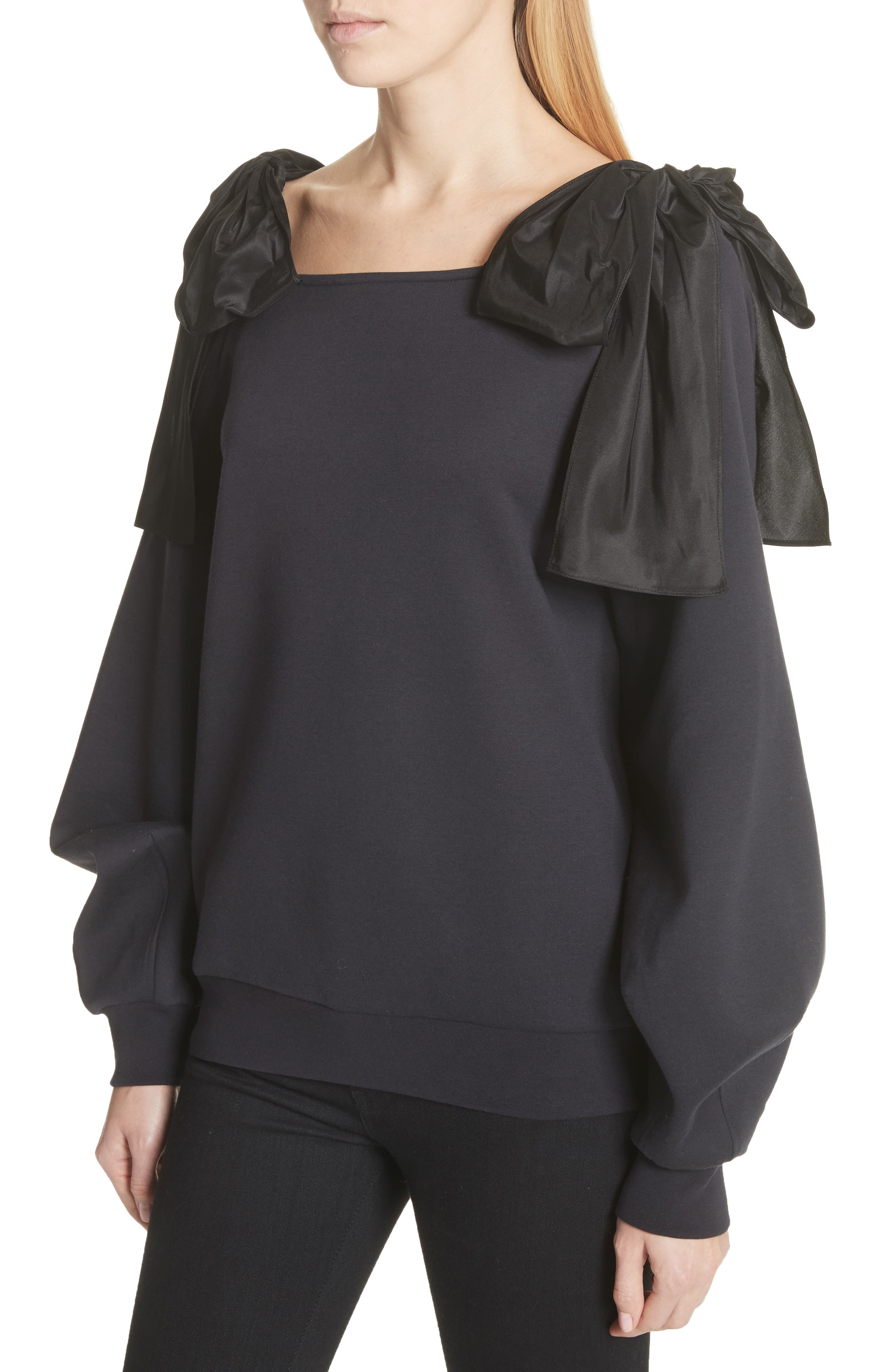 Bow Strap Cold Shoulder Sweatshirt,                             Alternate thumbnail 4, color,                             Ink