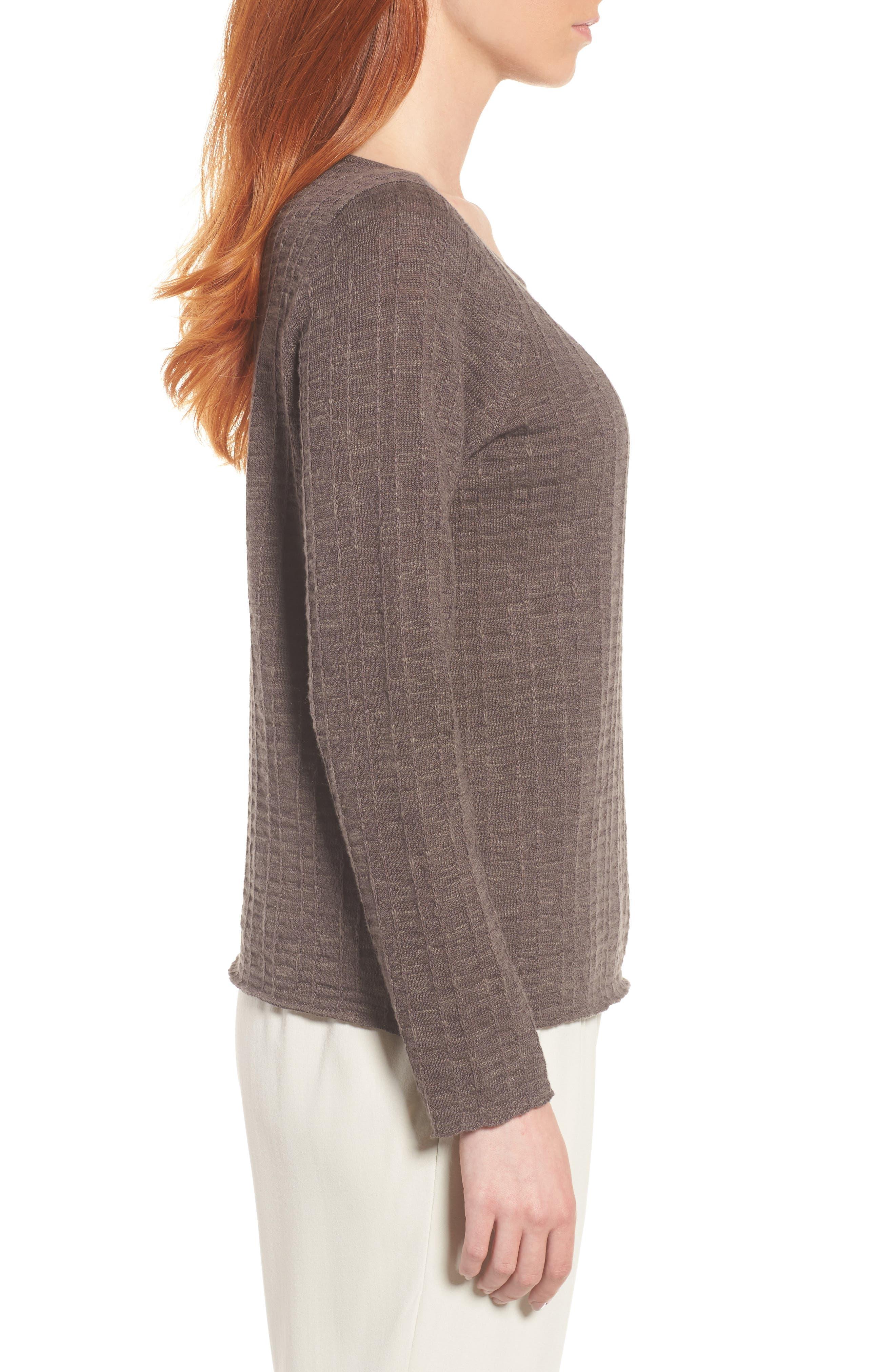 Organic Linen & Cotton Sweater,                             Alternate thumbnail 3, color,                             Rye