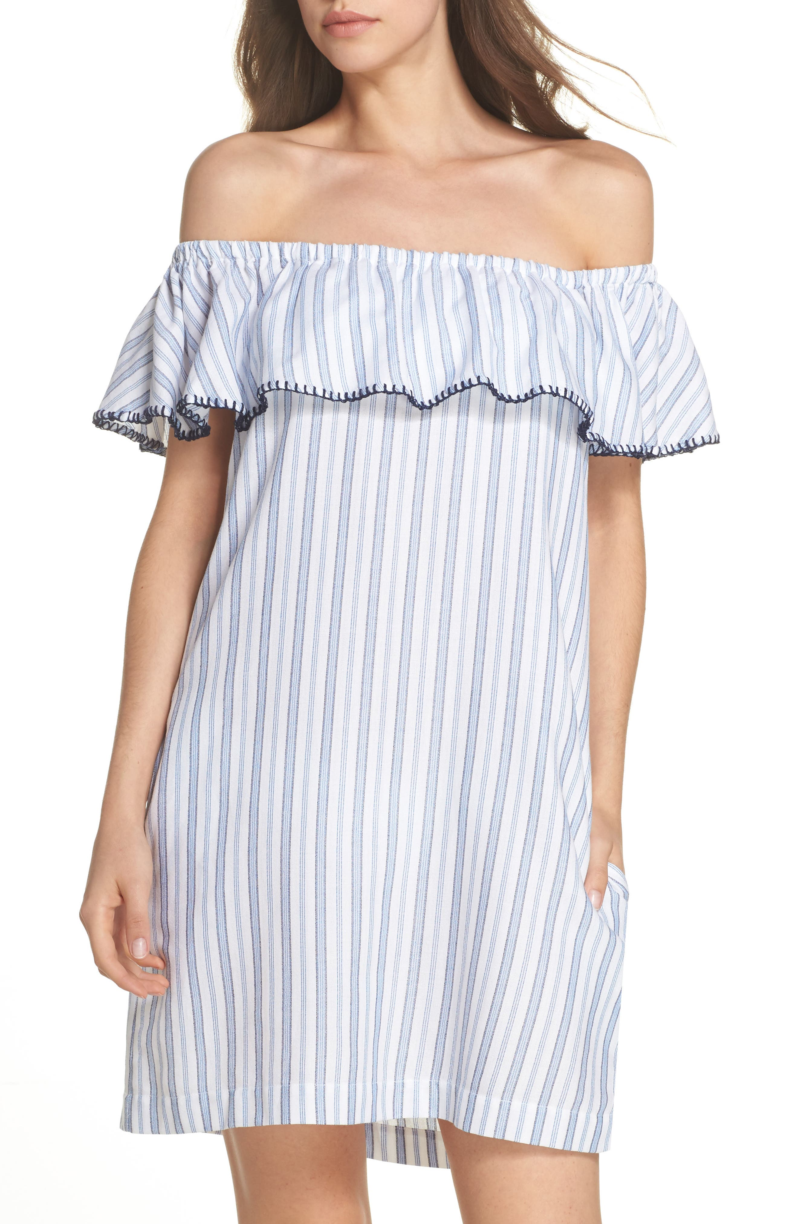 Ticking Stripe Off the Shoulder Cover-Up Dress,                         Main,                         color, White